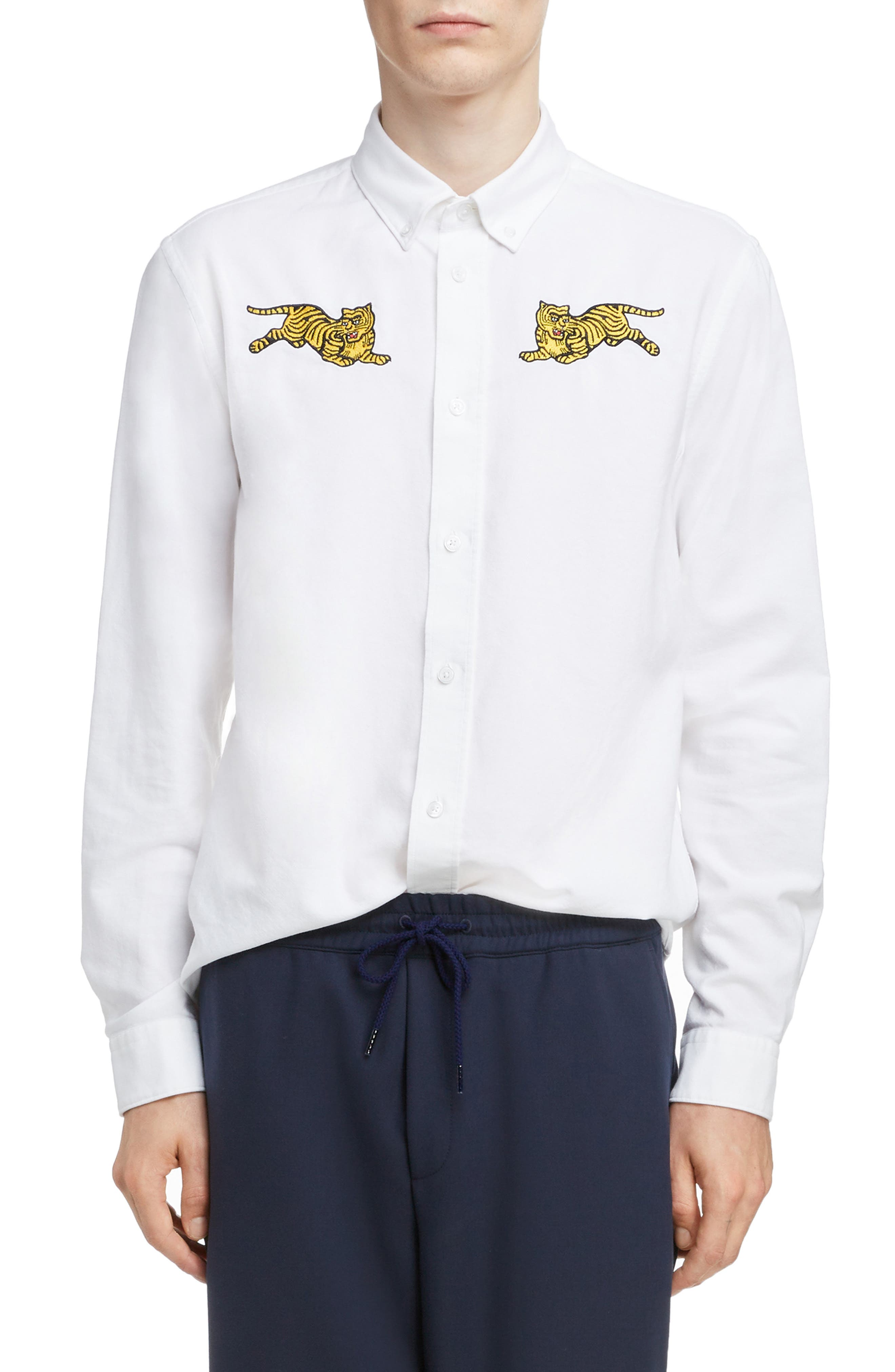 KENZO,                             Jumping Tiger Crest Woven Shirt,                             Alternate thumbnail 6, color,                             WHITE