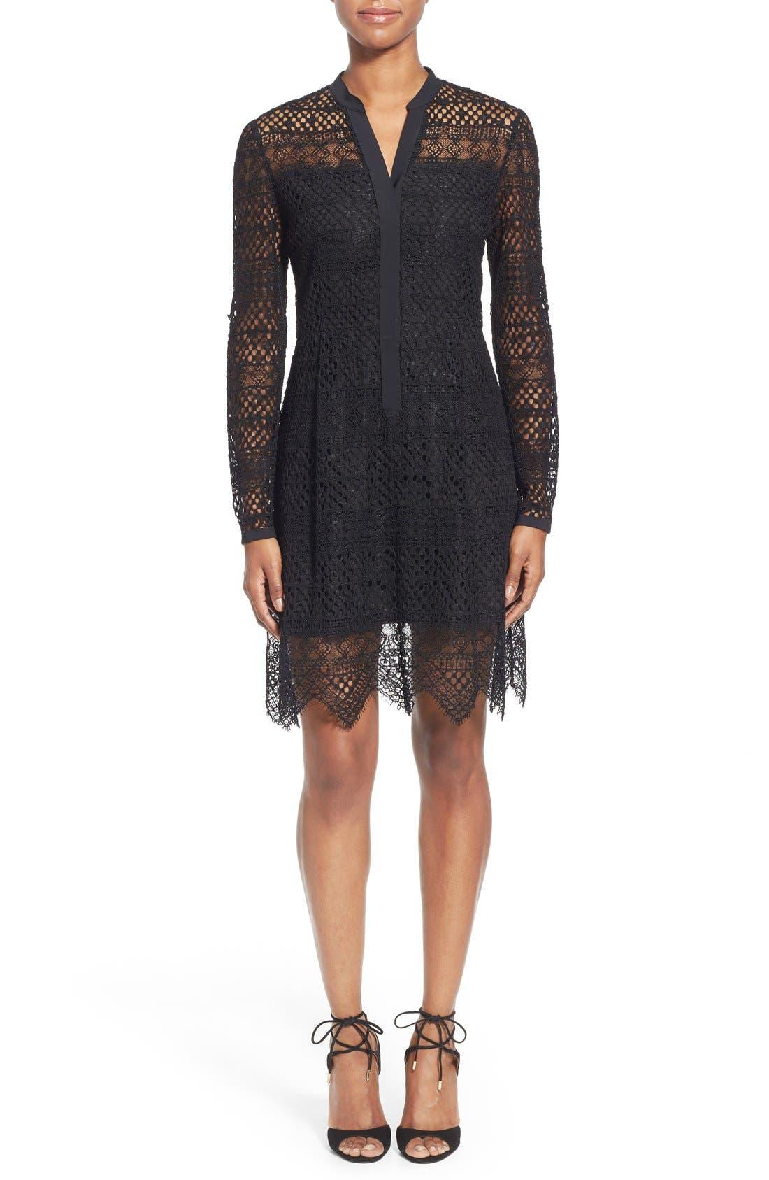 TAHARI Elie Tahari 'Whitney' Split Neck Lace Sheath Dress, Main, color, 001
