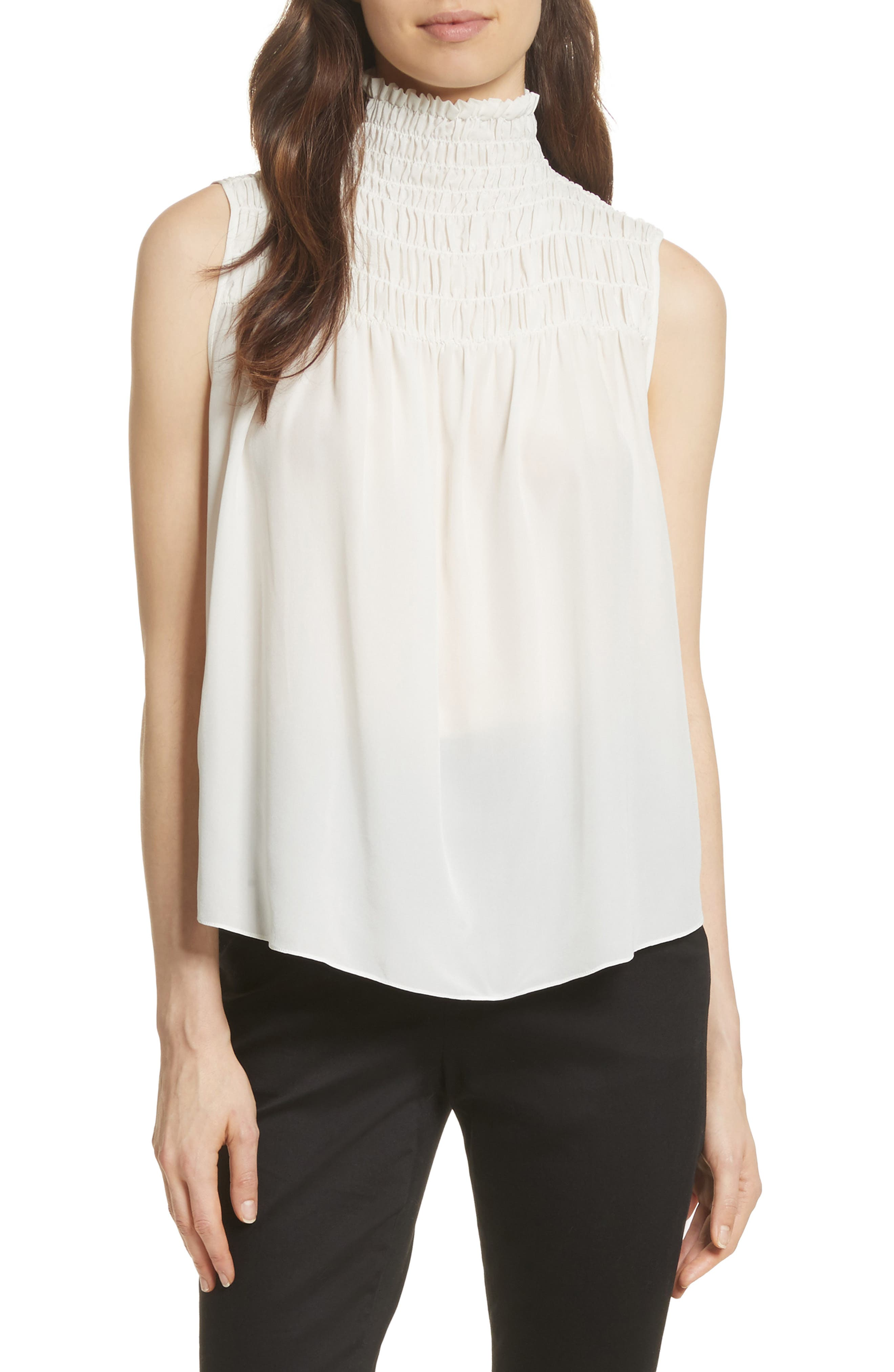 Smocked Sleeveless Silk Blouse,                         Main,                         color, OFF WHITE