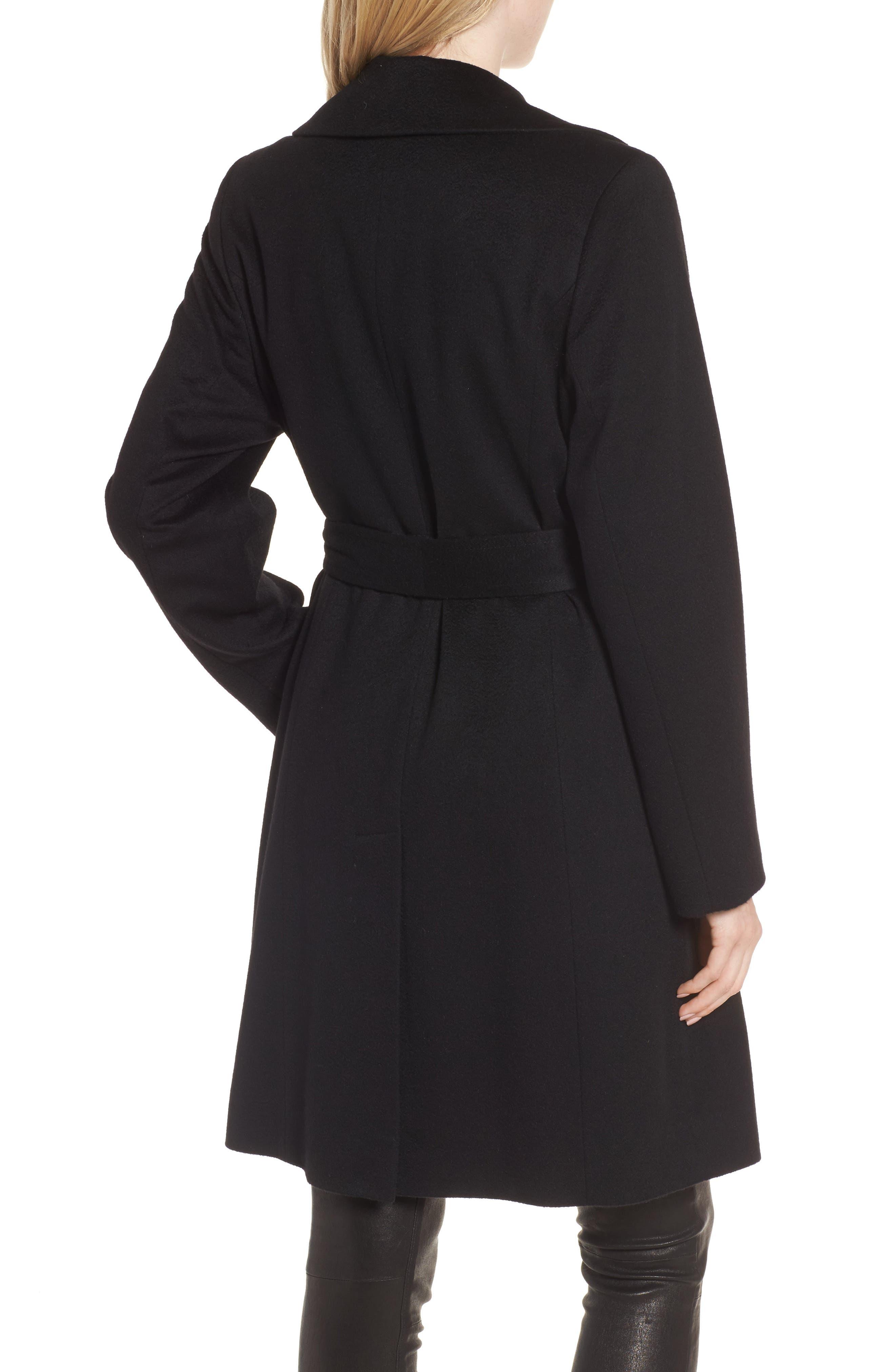 Notch Collar Cashmere Wrap Coat,                             Alternate thumbnail 2, color,                             001