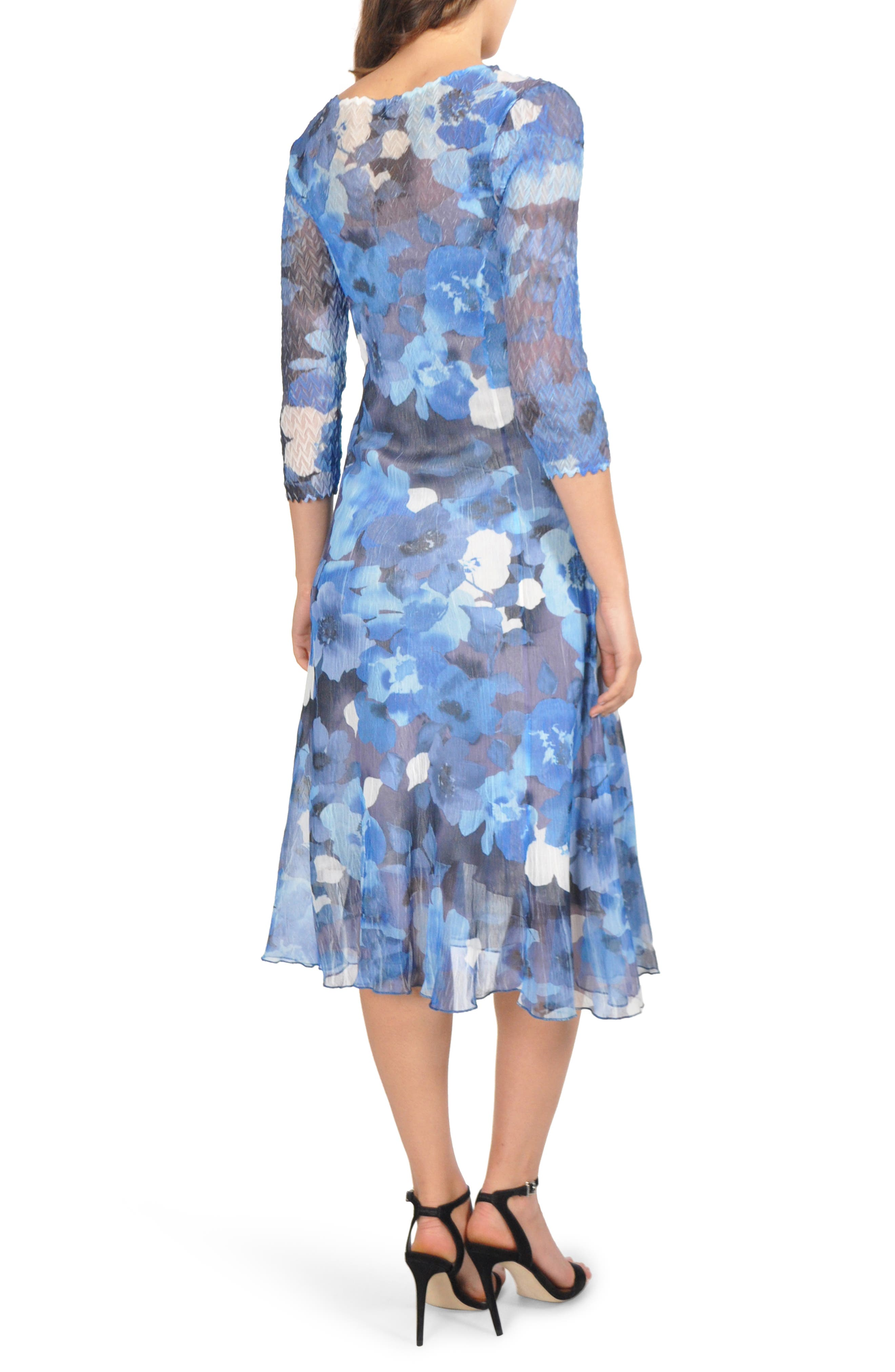 Charmeuse & Chiffon Midi Dress,                             Alternate thumbnail 2, color,                             ARCTIC BLOSSOM