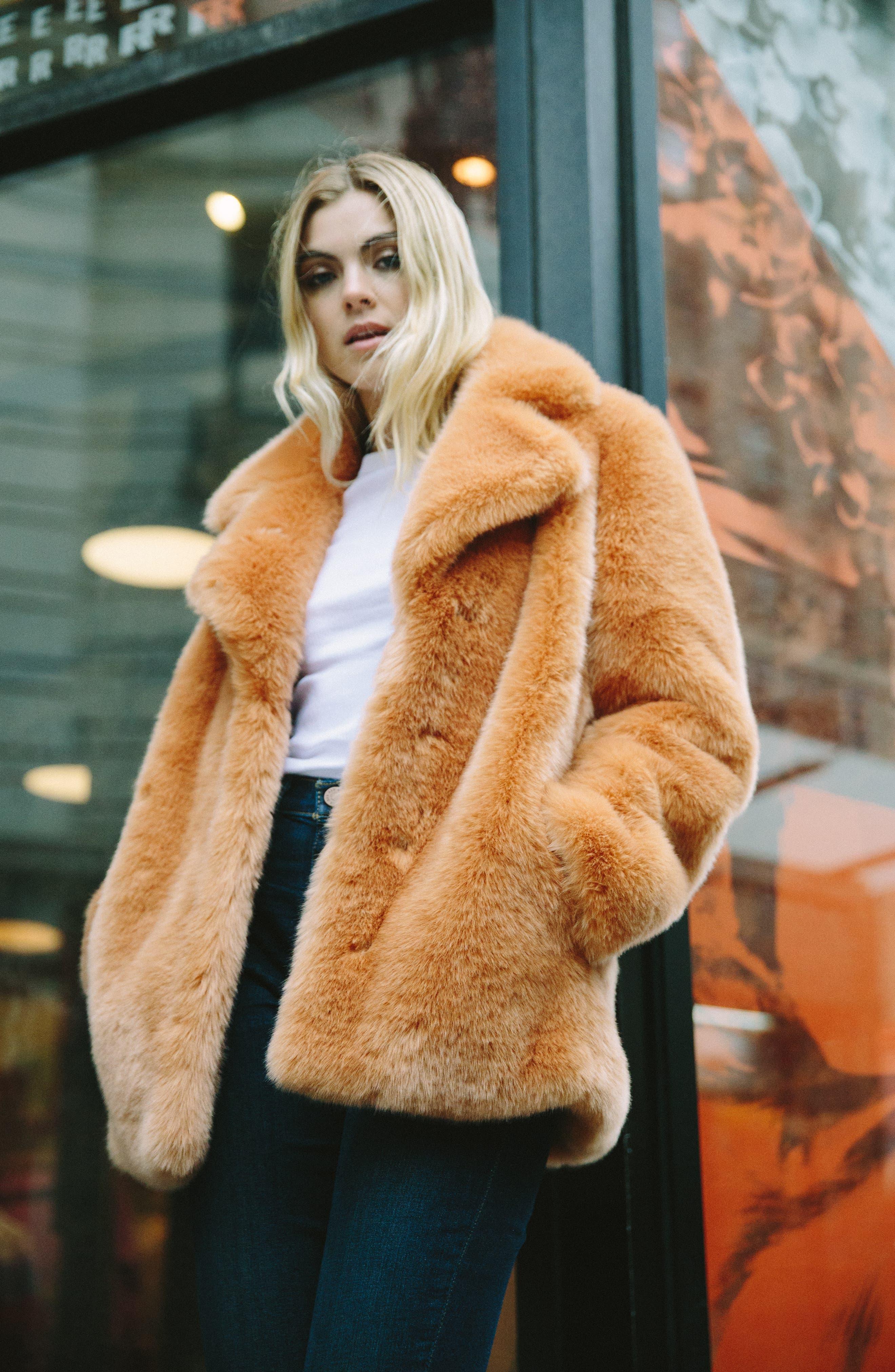 AVEC LES FILLES,                             Notch Collar Faux Fur Coat,                             Alternate thumbnail 8, color,                             669