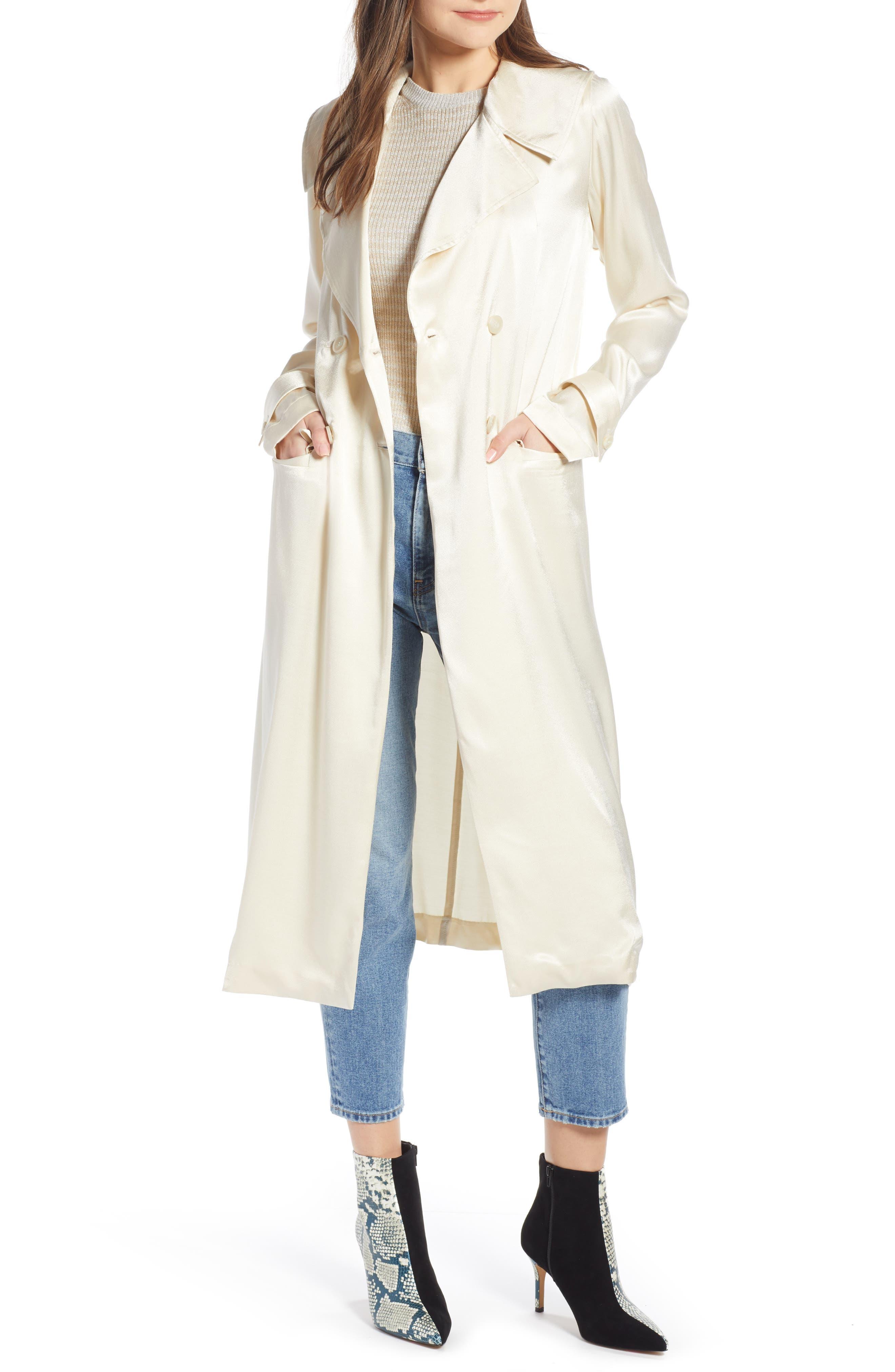 SOMETHING NAVY Grand Lapel Coat, Main, color, IVORY BIRCH