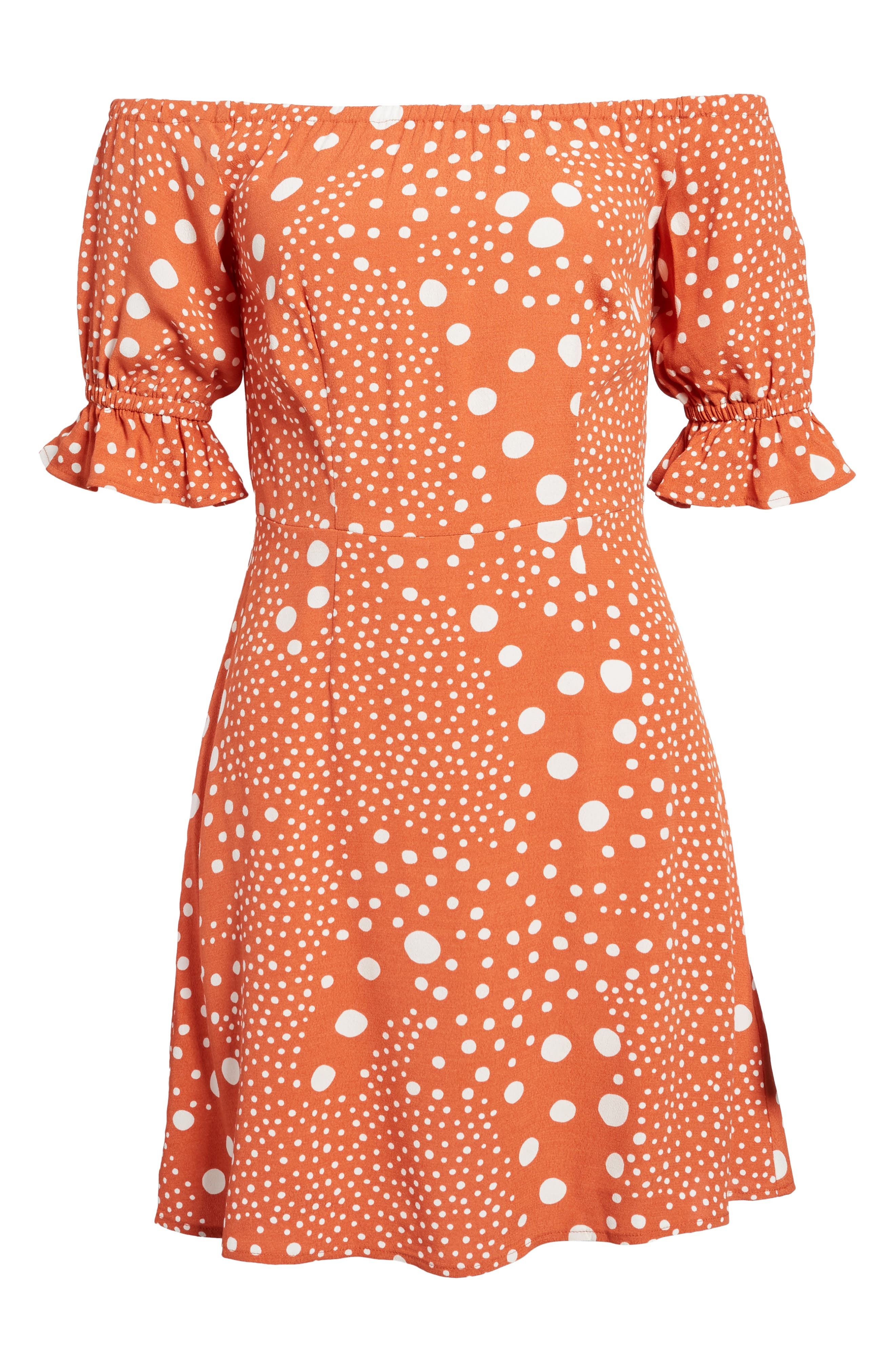 Peppers Polka Dot Off the Shoulder Dress,                             Alternate thumbnail 6, color,                             RUST PEBBLE