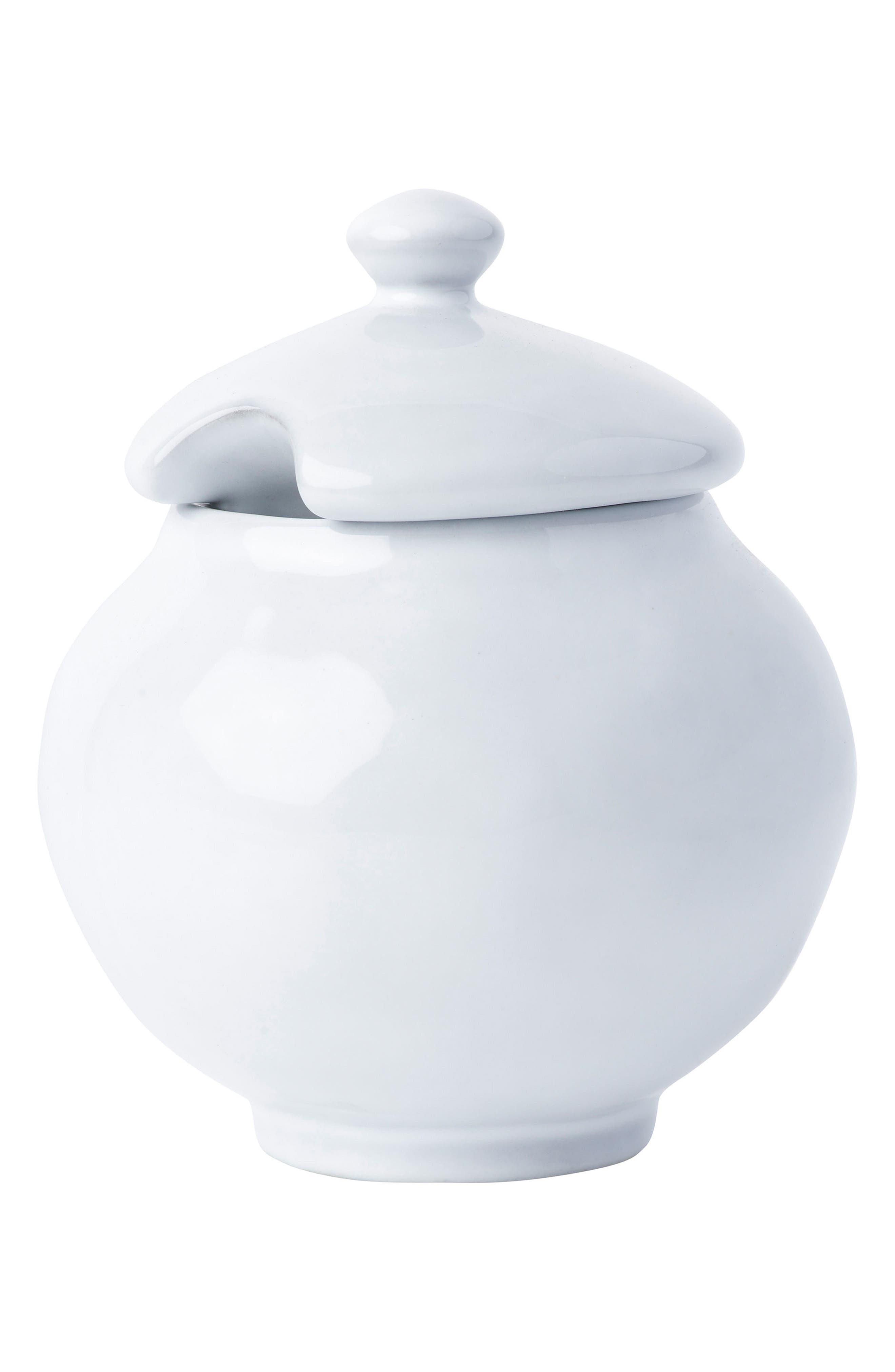 Quotidien White Truffle Ceramic Sugar Bowl,                             Main thumbnail 1, color,                             WHITE TRUFFLE
