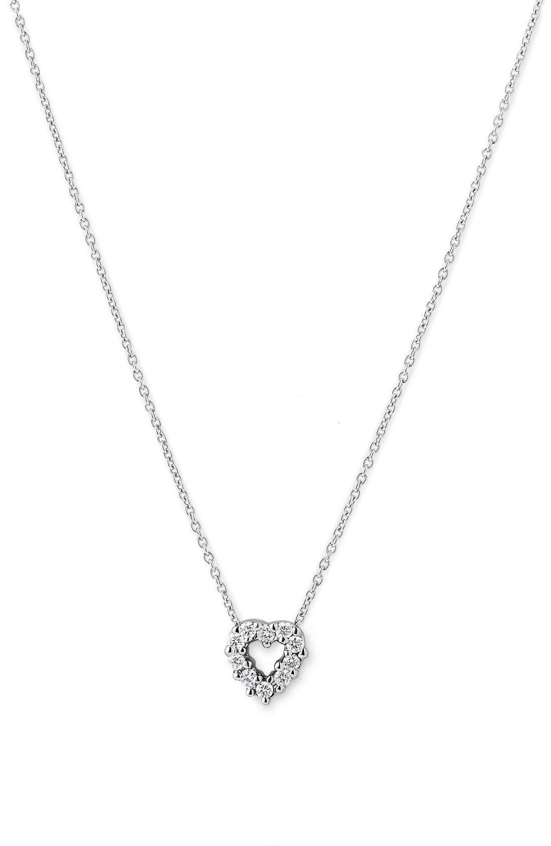 'Tiny Treasures' Diamond Heart Pendant Necklace,                             Main thumbnail 1, color,                             WHITE GOLD