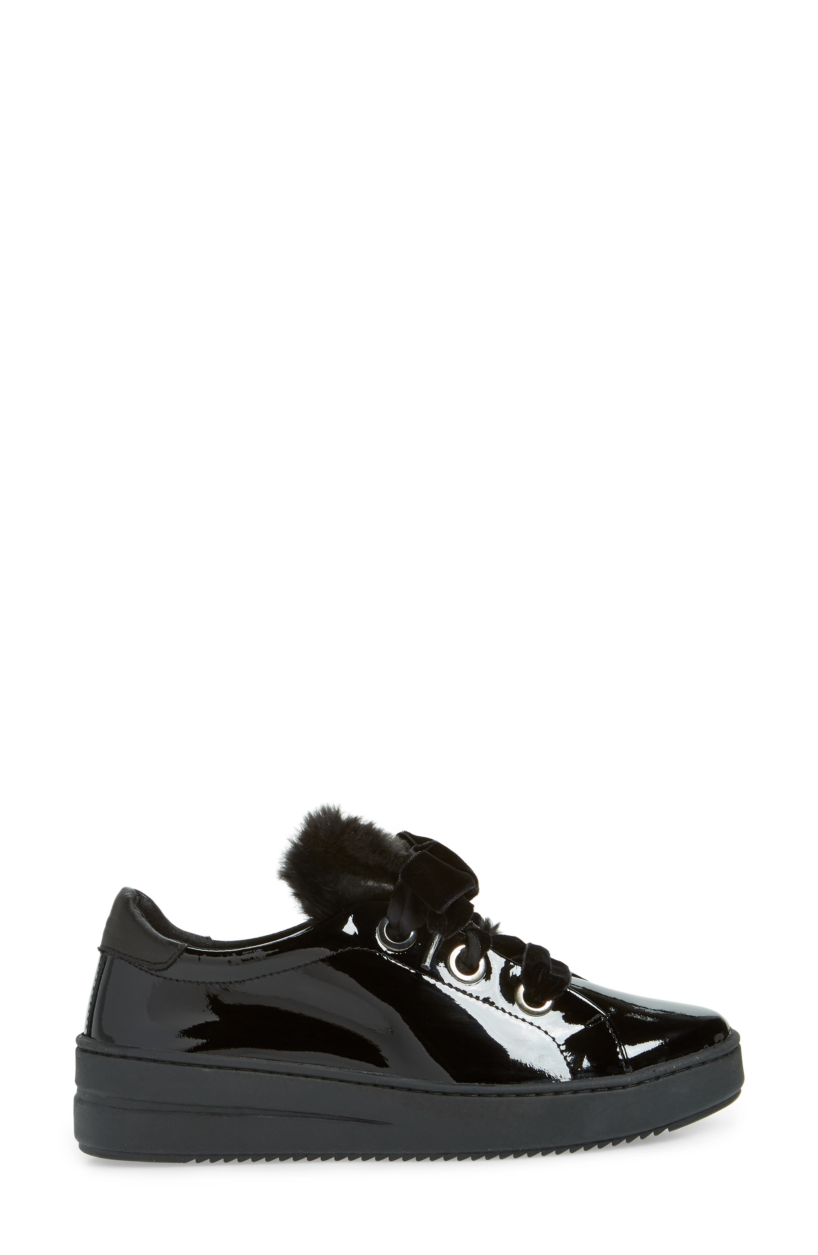 Groove Faux-Shearling Trim Sneaker,                             Alternate thumbnail 3, color,                             BLACK PATENT LEATHER