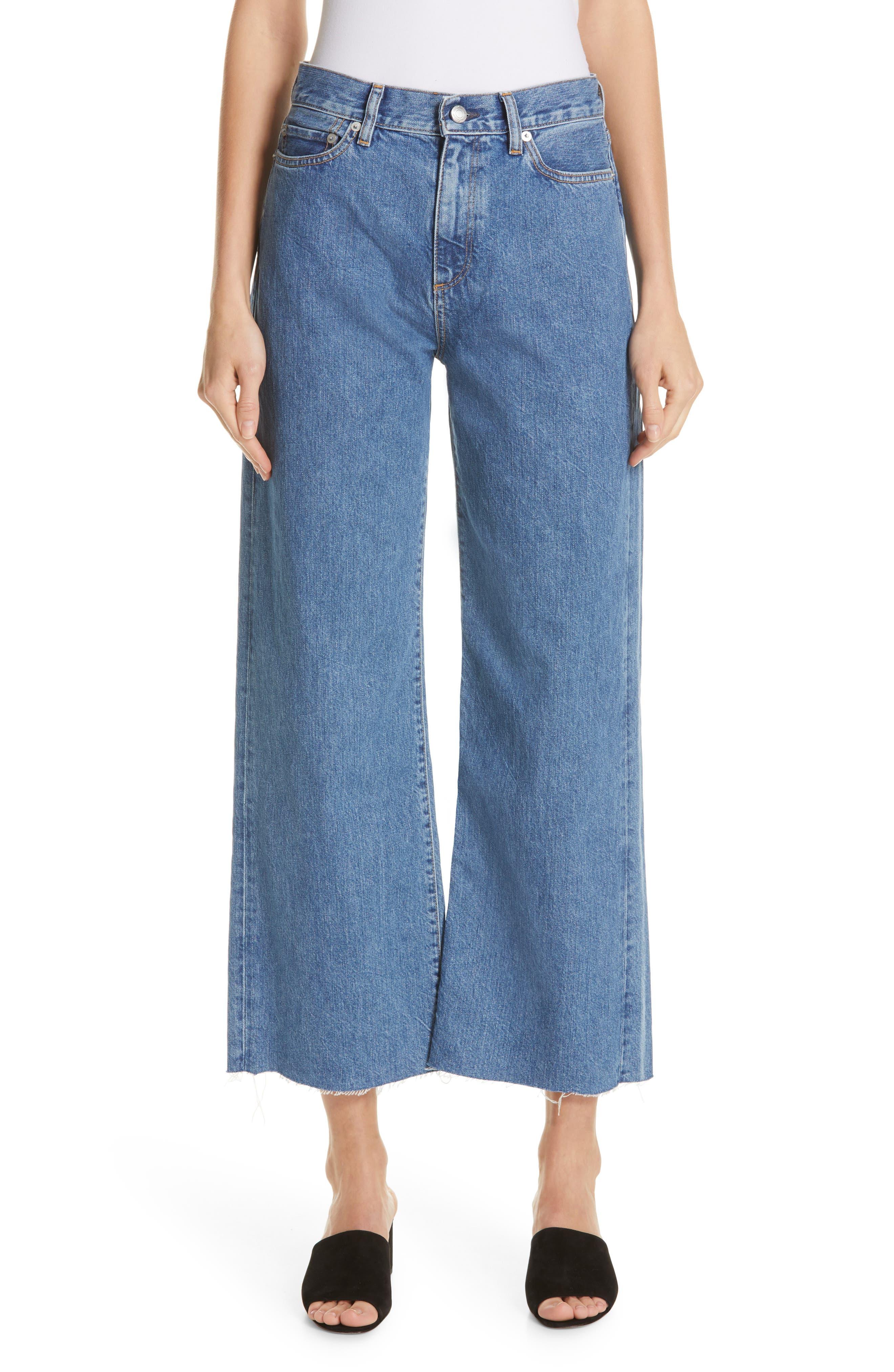 Crop Frayed Wide Leg Jeans,                             Main thumbnail 1, color,                             VINTAGE WASH 4