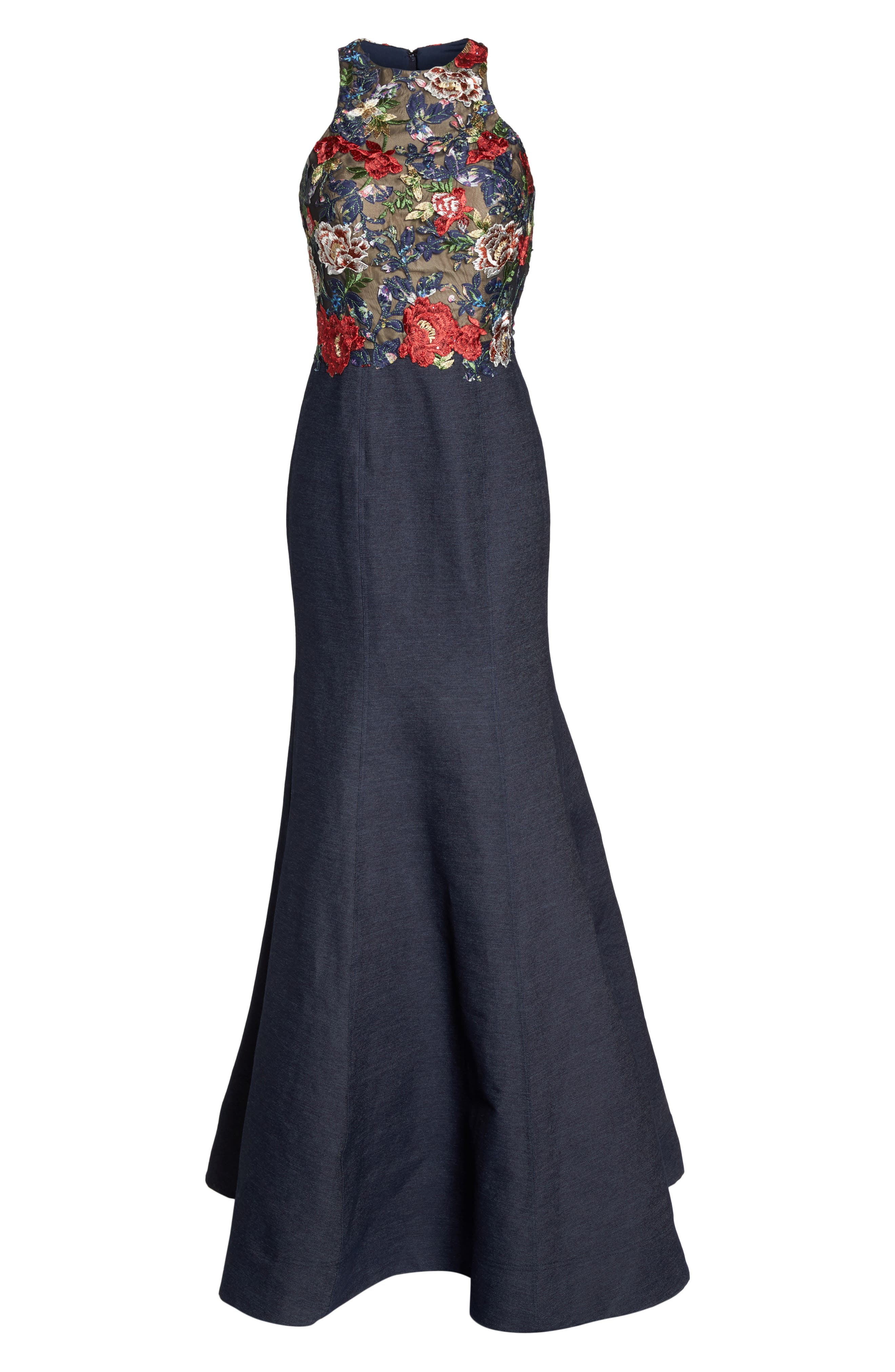 Embroidered Denim Mermaid Gown,                             Alternate thumbnail 6, color,