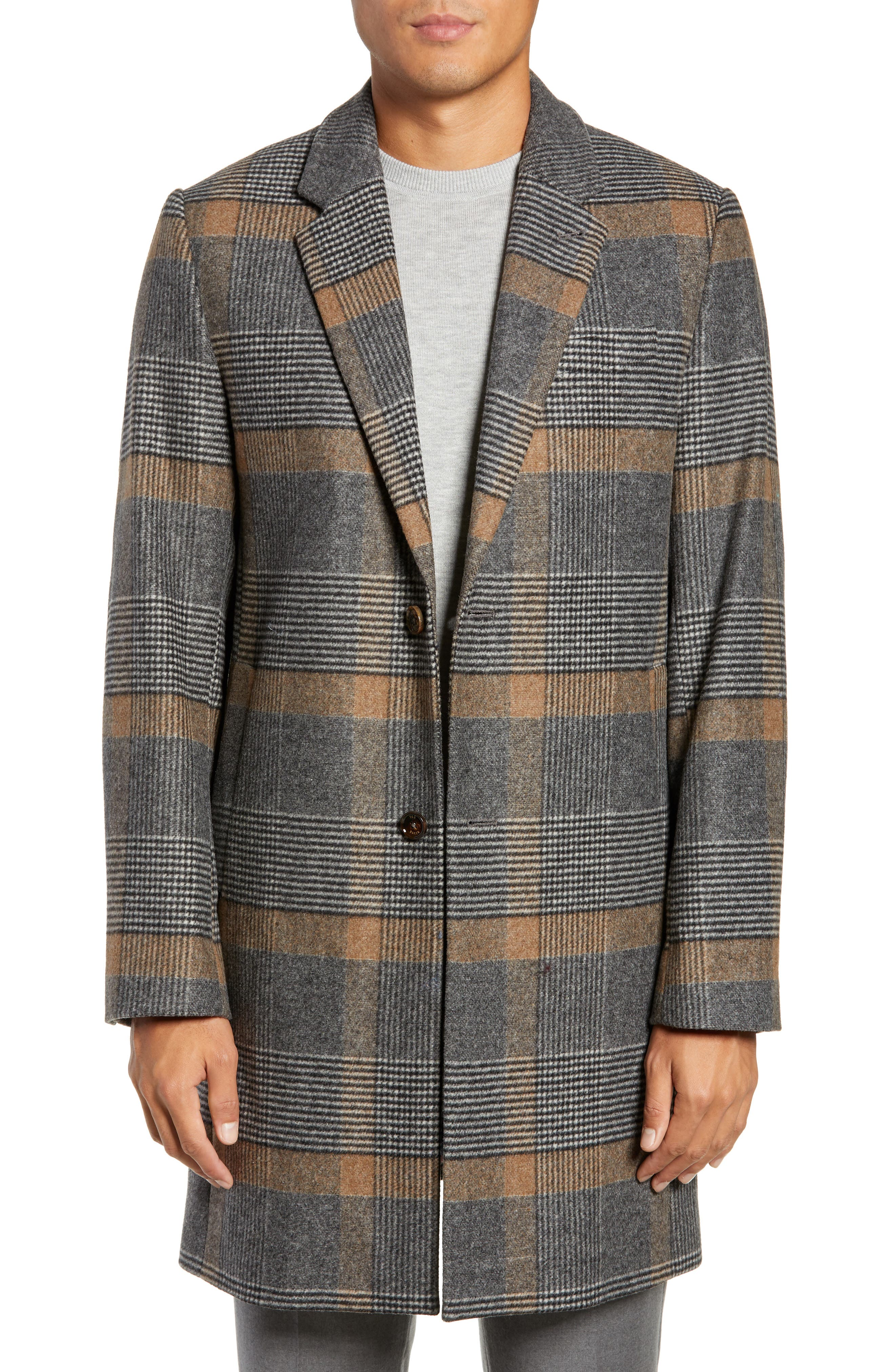 Frais Check Wool Overcoat,                         Main,                         color, CAMEL