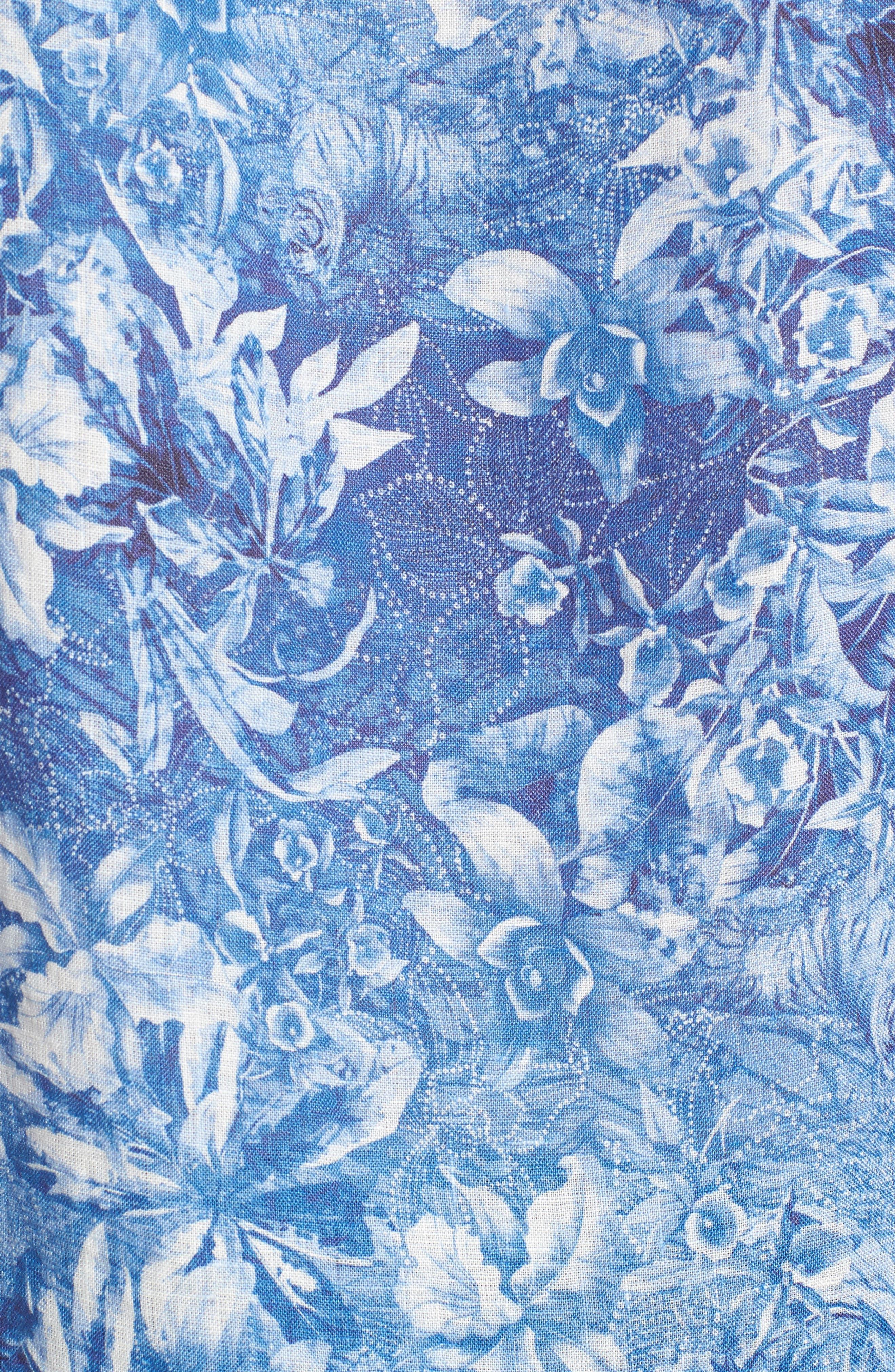 Shaped Fit Floral Linen Sport Shirt,                             Alternate thumbnail 5, color,                             420