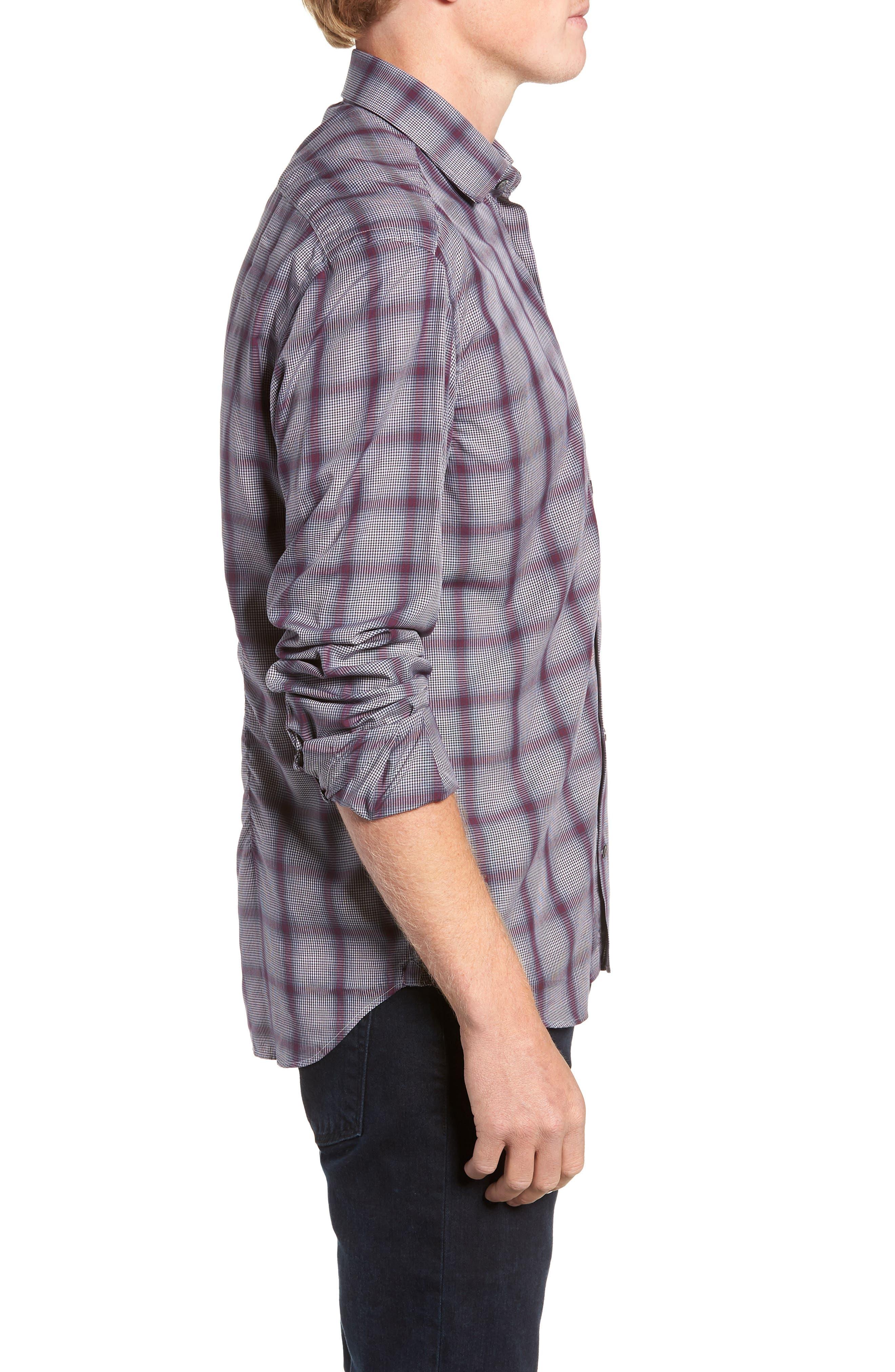 Tailored Fit Plaid Sport Shirt,                             Alternate thumbnail 4, color,                             600