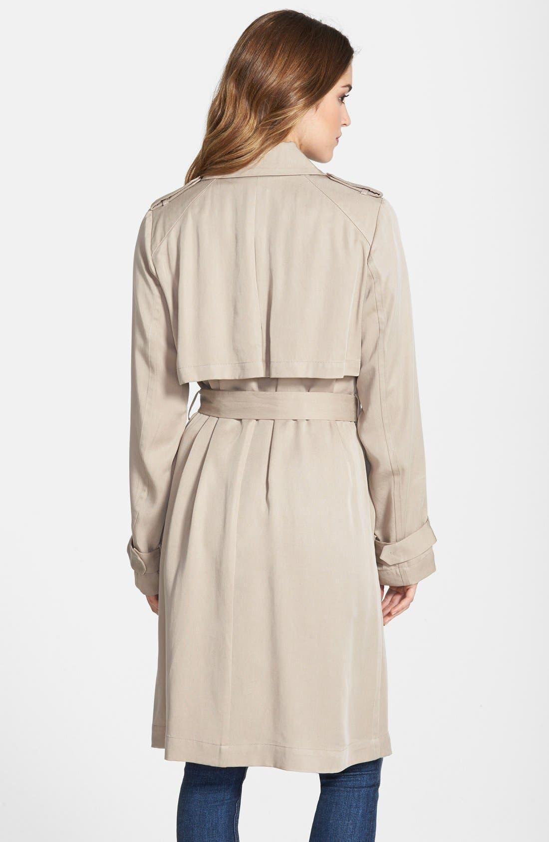 Draped Wrap Long Trench Coat,                             Alternate thumbnail 3, color,                             250