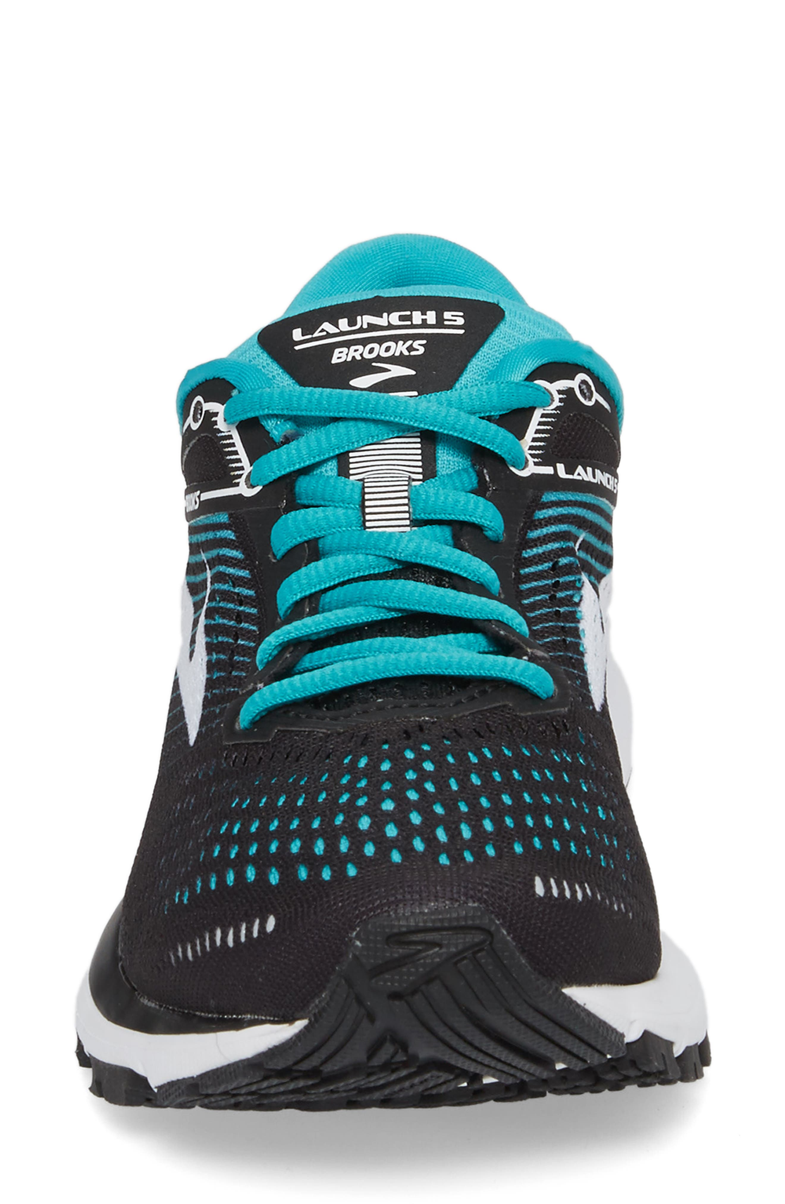 BROOKS,                             Launch 5 Running Shoe,                             Alternate thumbnail 4, color,                             BLACK/ TEAL GREEN/ WHITE