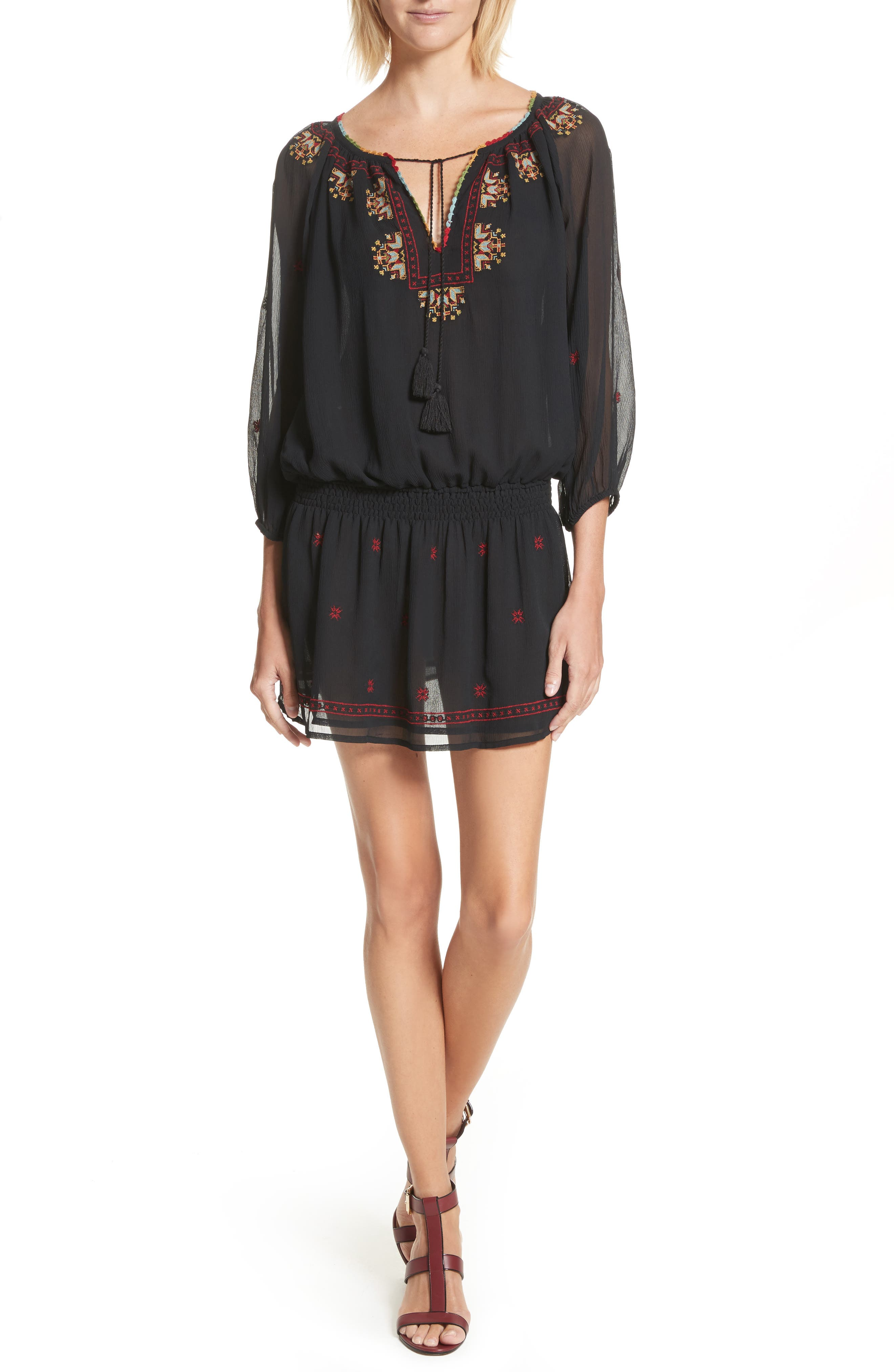 Geromine Blouson Silk Dress,                         Main,                         color, 003