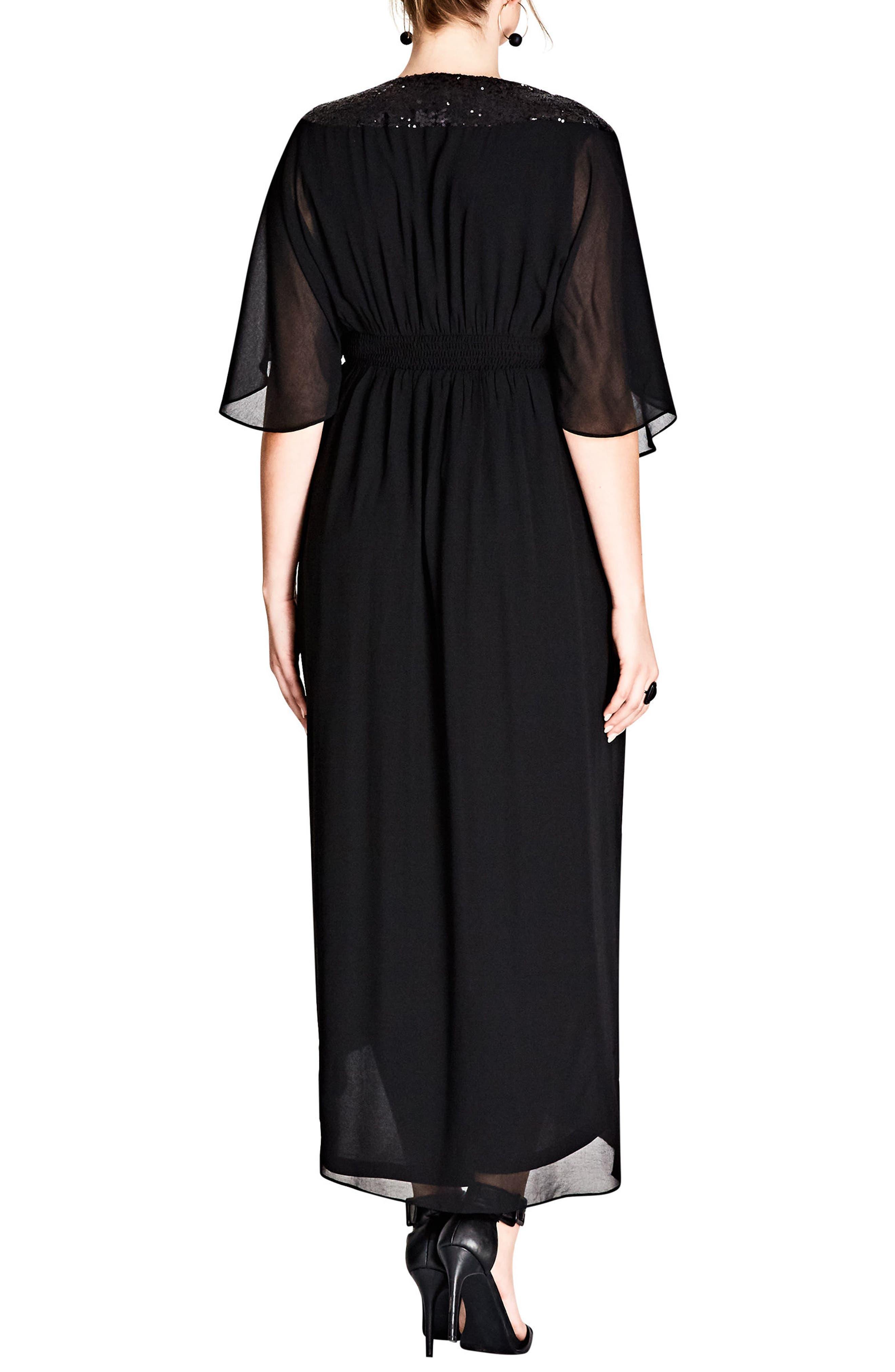 Sequin Wrap Maxi Dress,                             Alternate thumbnail 2, color,                             BLACK