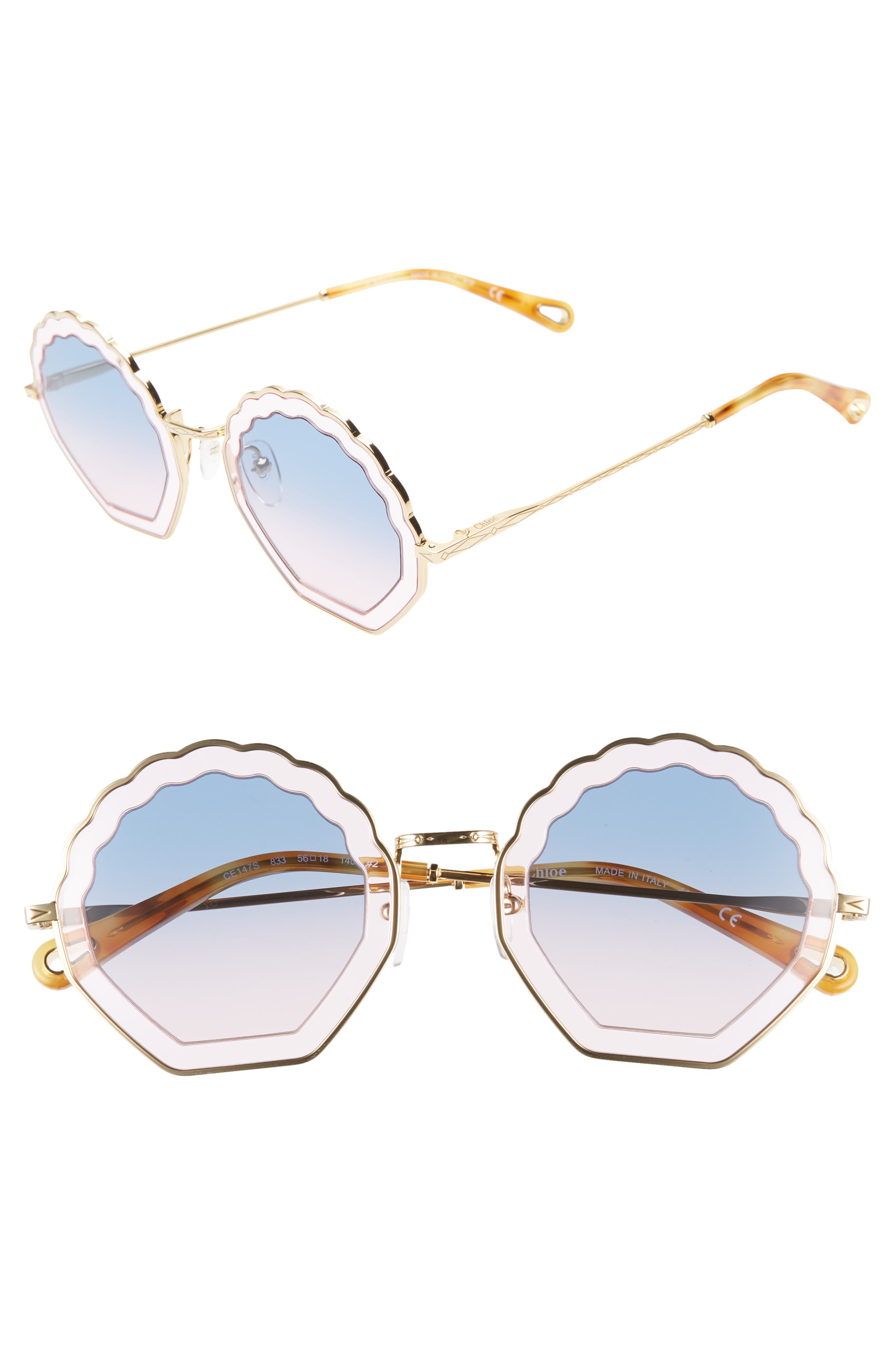 Chloe Tally 5m Scalloped Sunglasses - Gold/lt Pink/gradient Blue