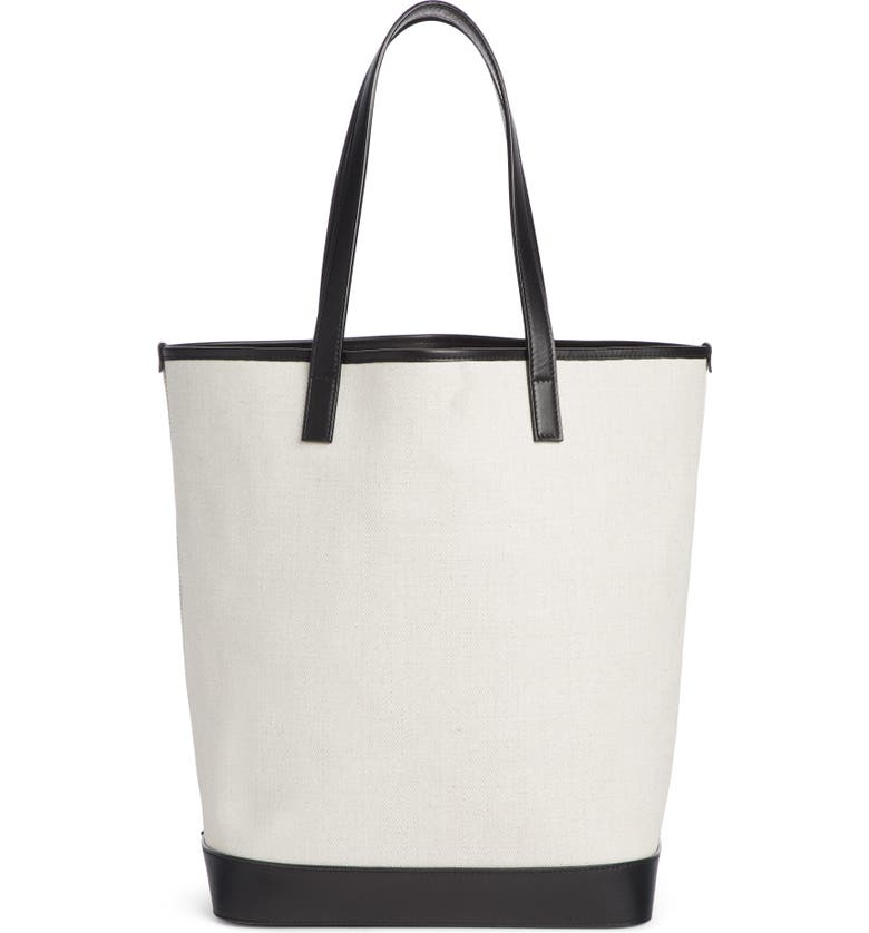 2834a7a6f0 Saint Laurent Teddy Medium Canvas Leather Drawstring Shopping Tote Bag In  Lino Bianco  Nero