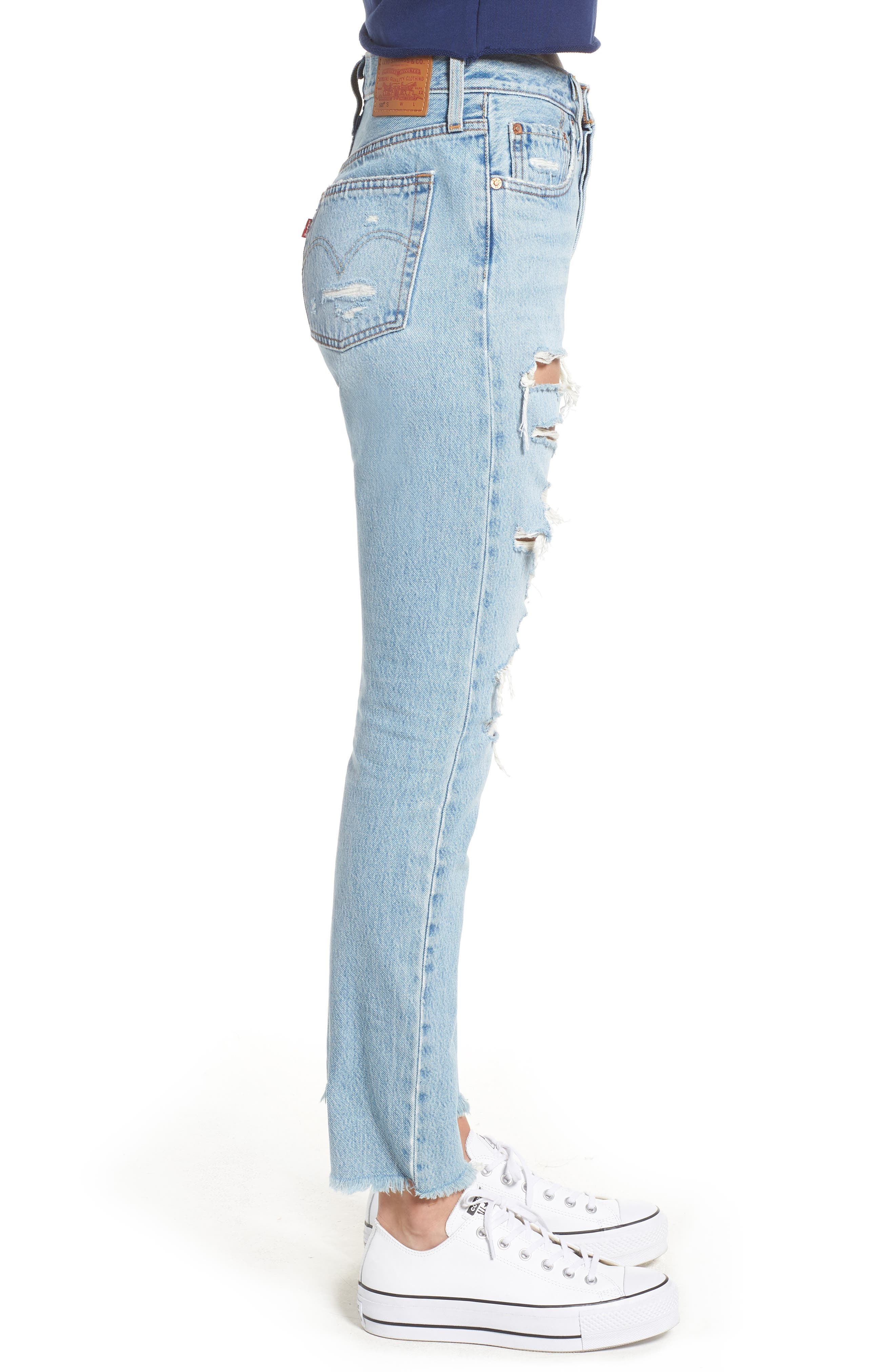 501<sup>®</sup> Ripped High Waist Skinny Jeans,                             Alternate thumbnail 3, color,                             THRASHED
