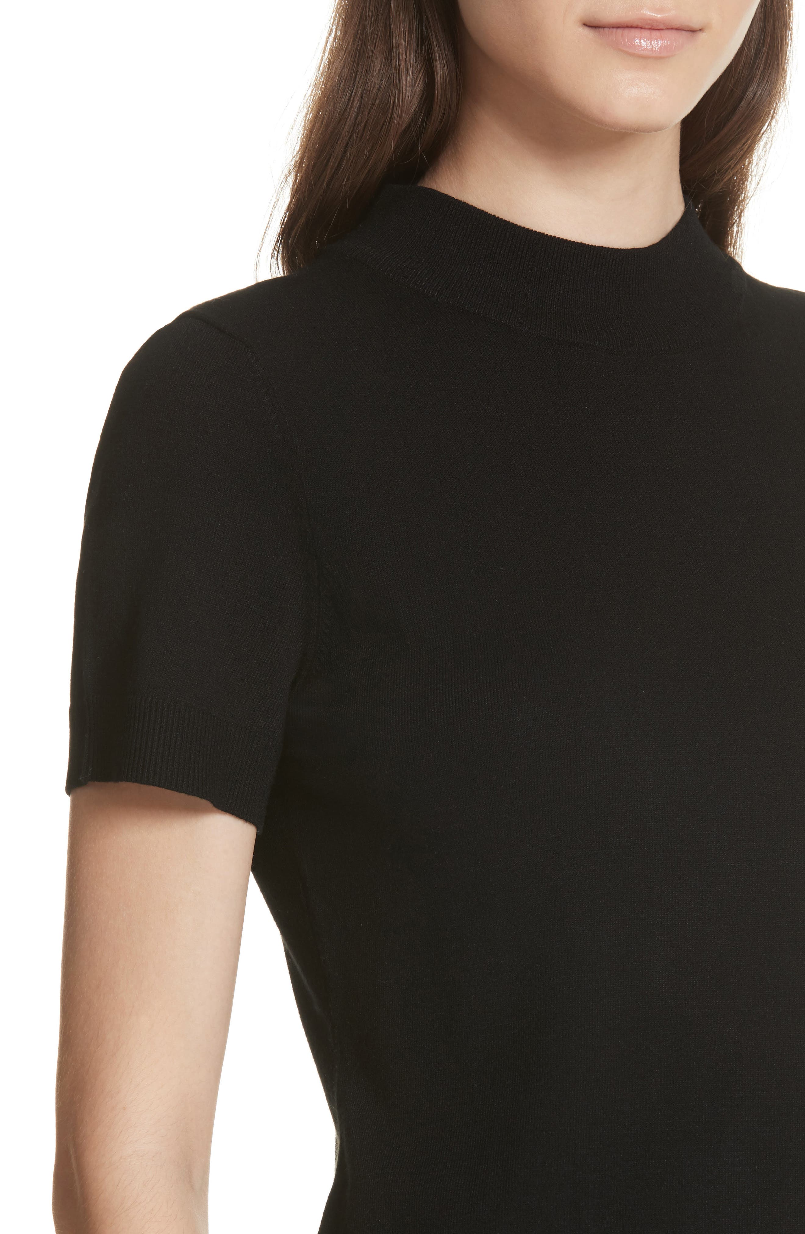 MILLY,                             Mock Neck Tee,                             Alternate thumbnail 4, color,                             001
