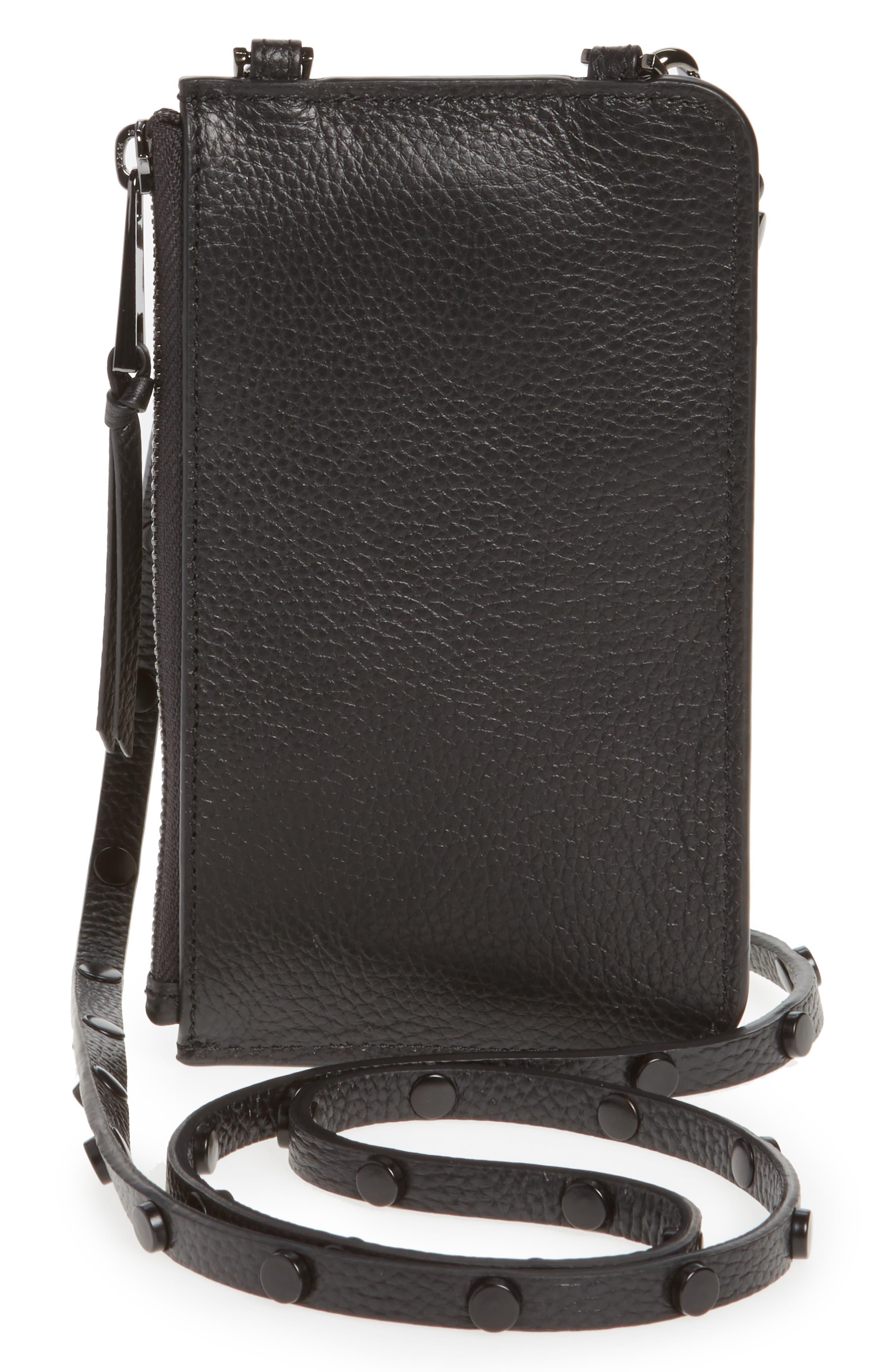 Jane Leather iPhone 7/8 & 7/8 Plus Crossbody Case,                             Alternate thumbnail 5, color,                             BLACK/ PEWTER