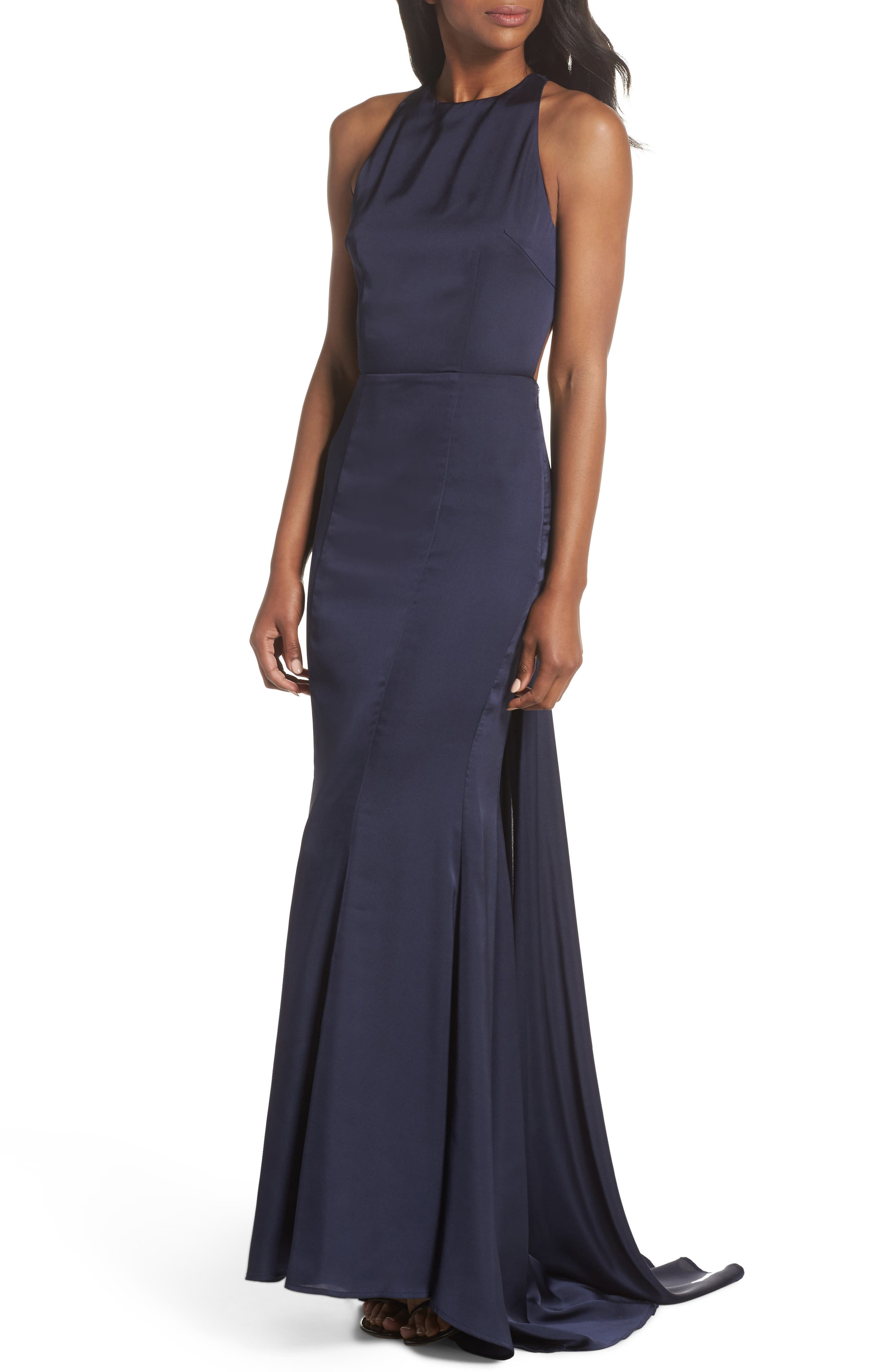 Blanche Open Back Gown,                             Main thumbnail 1, color,                             NAVY