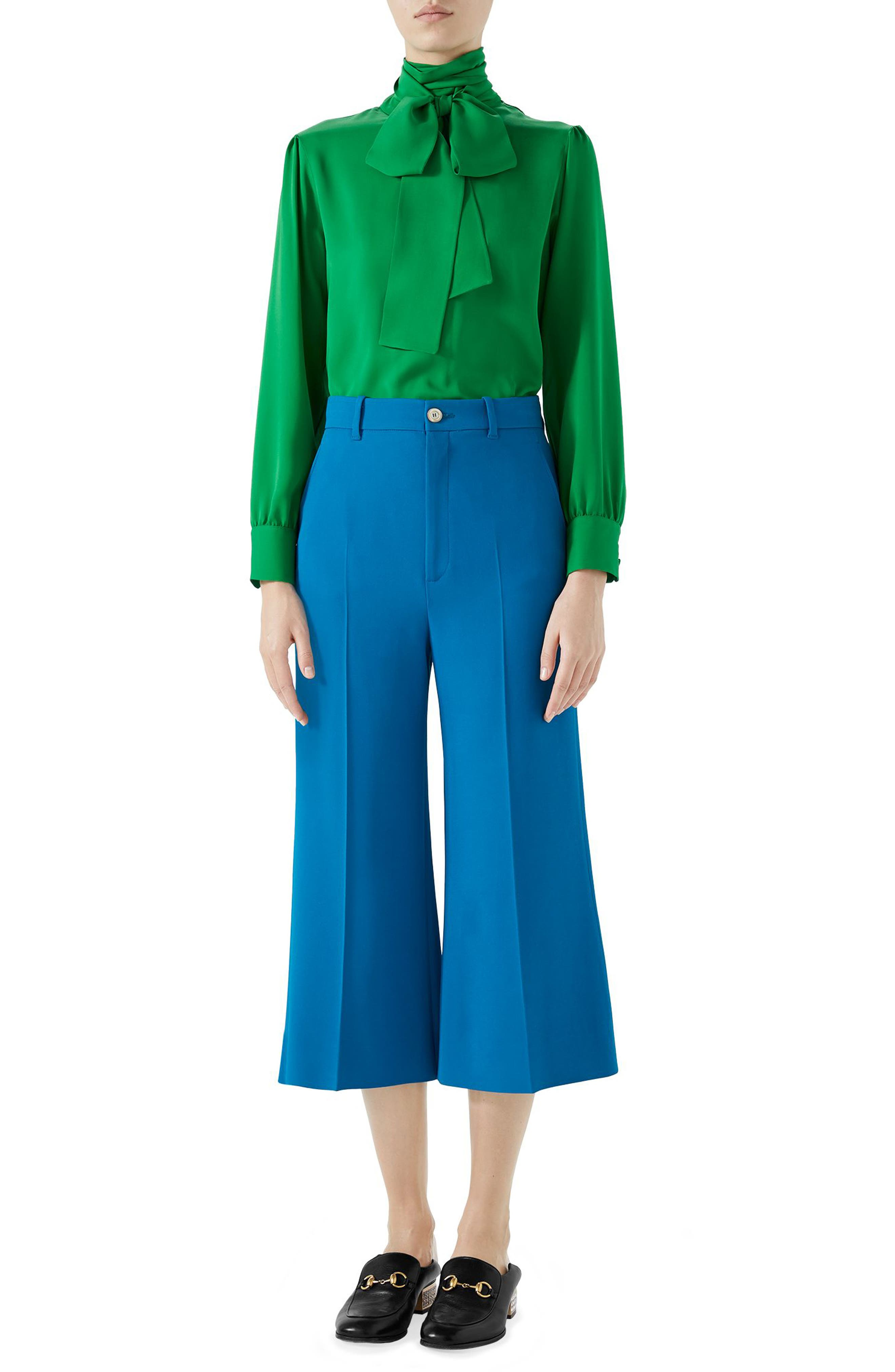 Stretch Cady Wide Leg Crop Trousers,                             Alternate thumbnail 3, color,                             TROPICAL BLUE