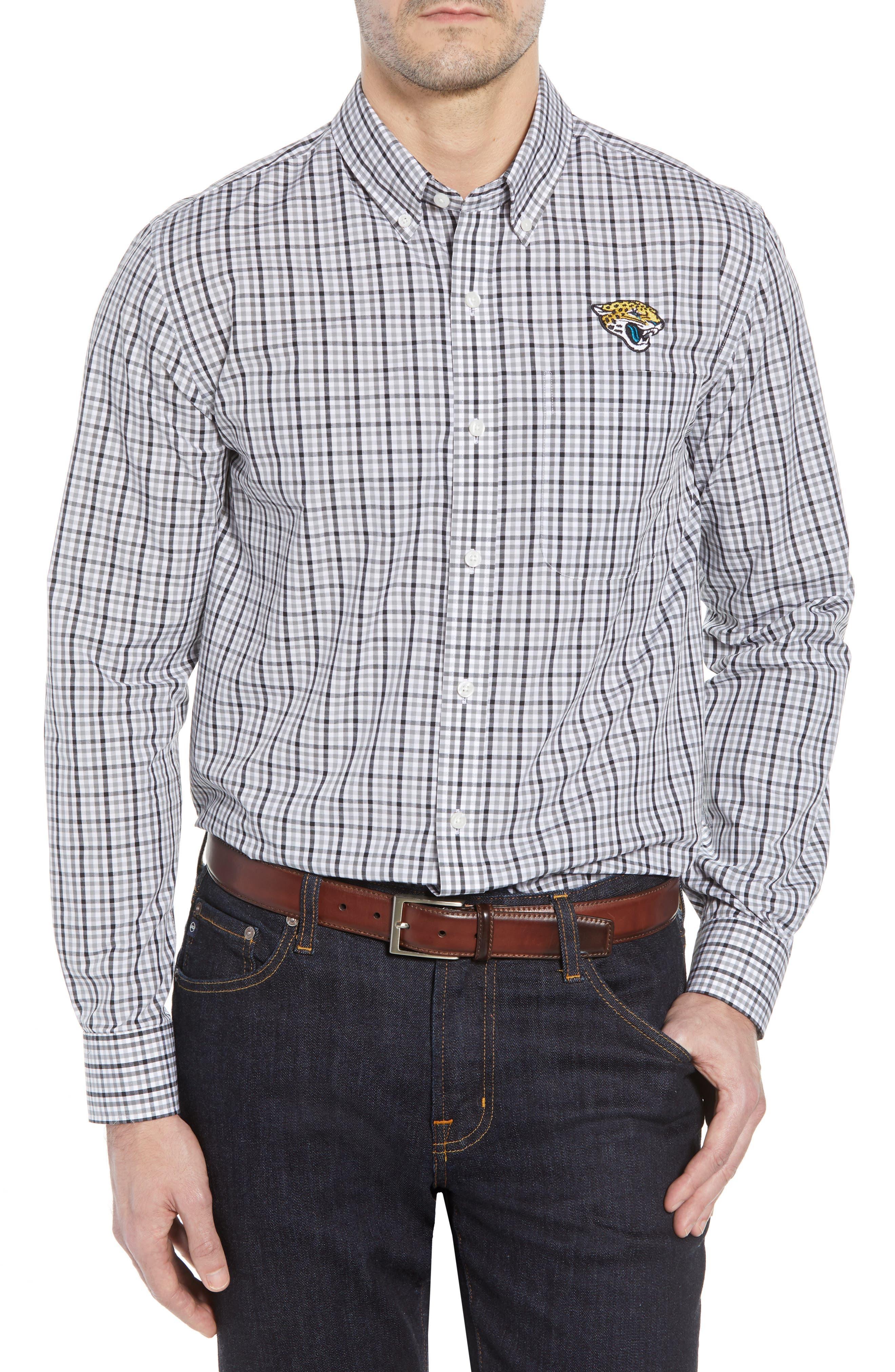 Jacksonville Jaguars - Gilman Regular Fit Plaid Sport Shirt,                             Main thumbnail 1, color,                             BLACK