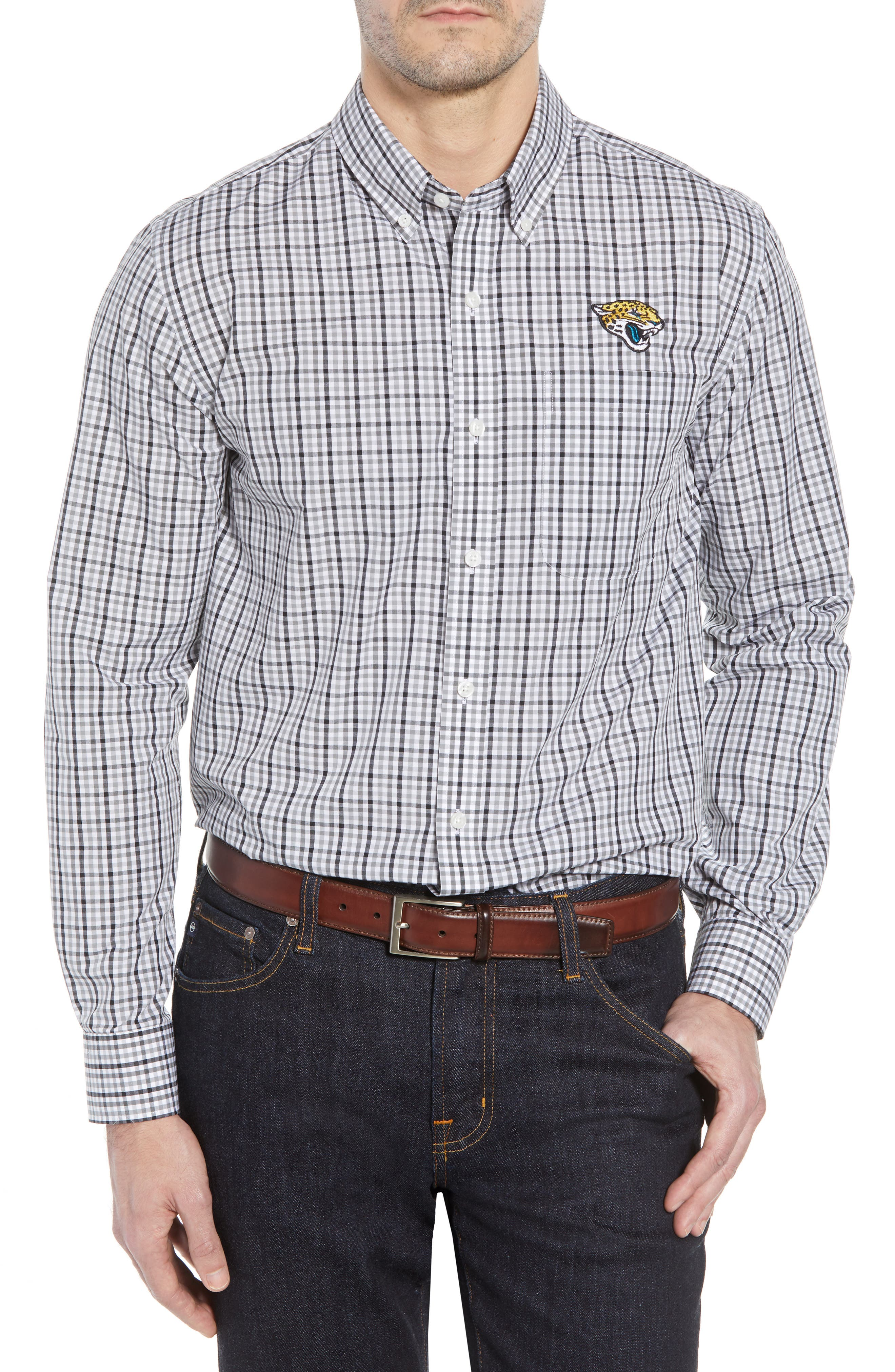 Jacksonville Jaguars - Gilman Regular Fit Plaid Sport Shirt,                         Main,                         color, BLACK
