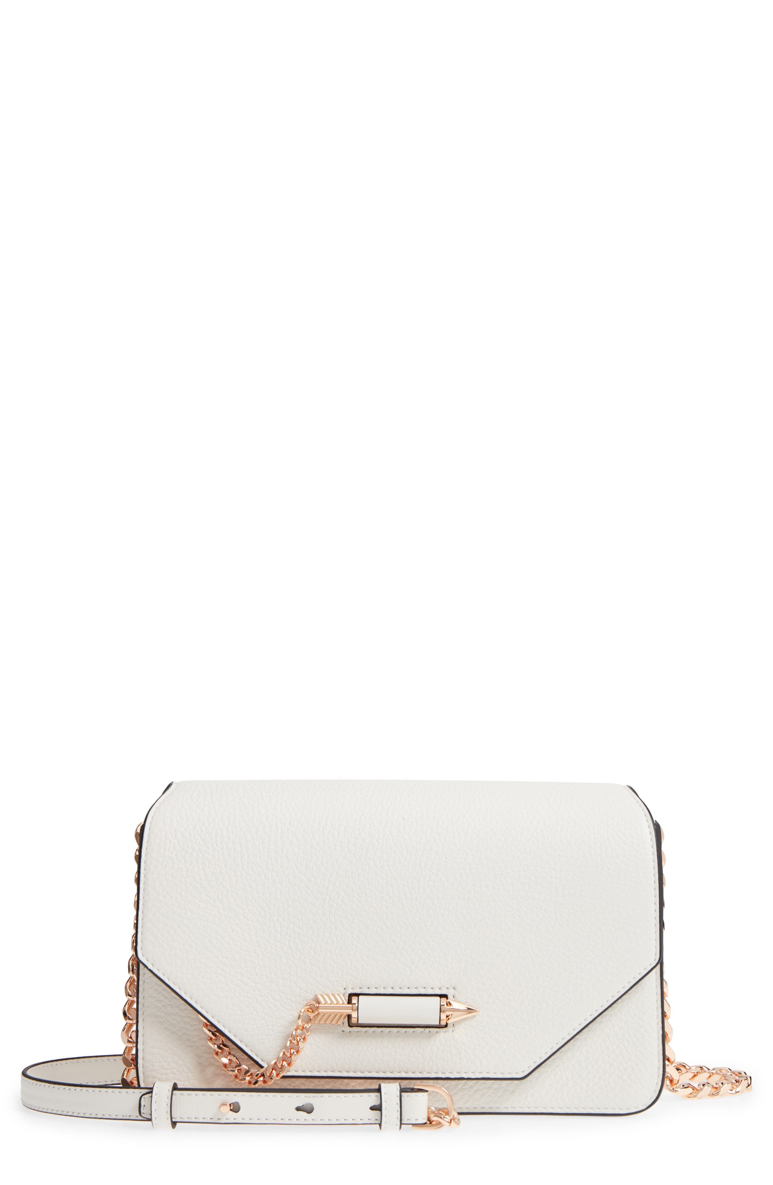 Cortney Nappa Leather Shoulder/Crossbody Bag,                             Main thumbnail 1, color,                             WHITE/ ROSE GOLD