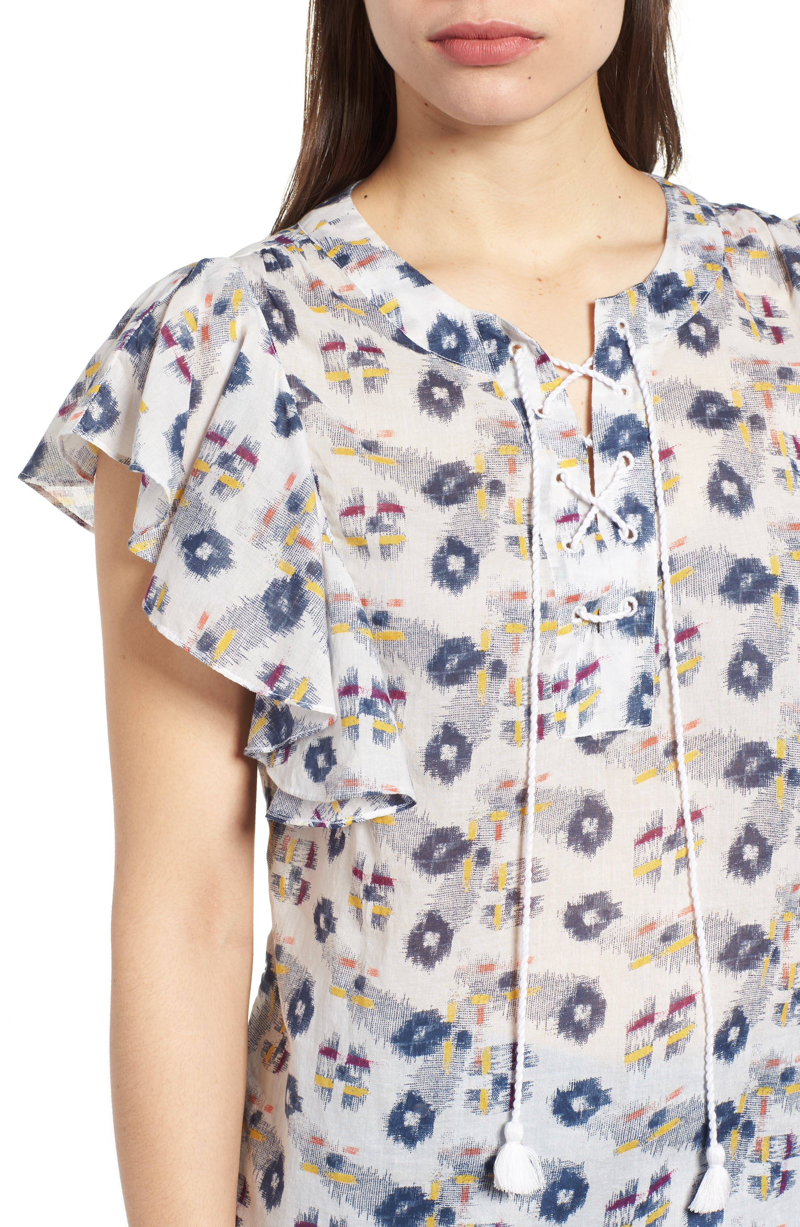 Flounce Sleeve Lace-Up Blouse,                             Alternate thumbnail 4, color,                             903