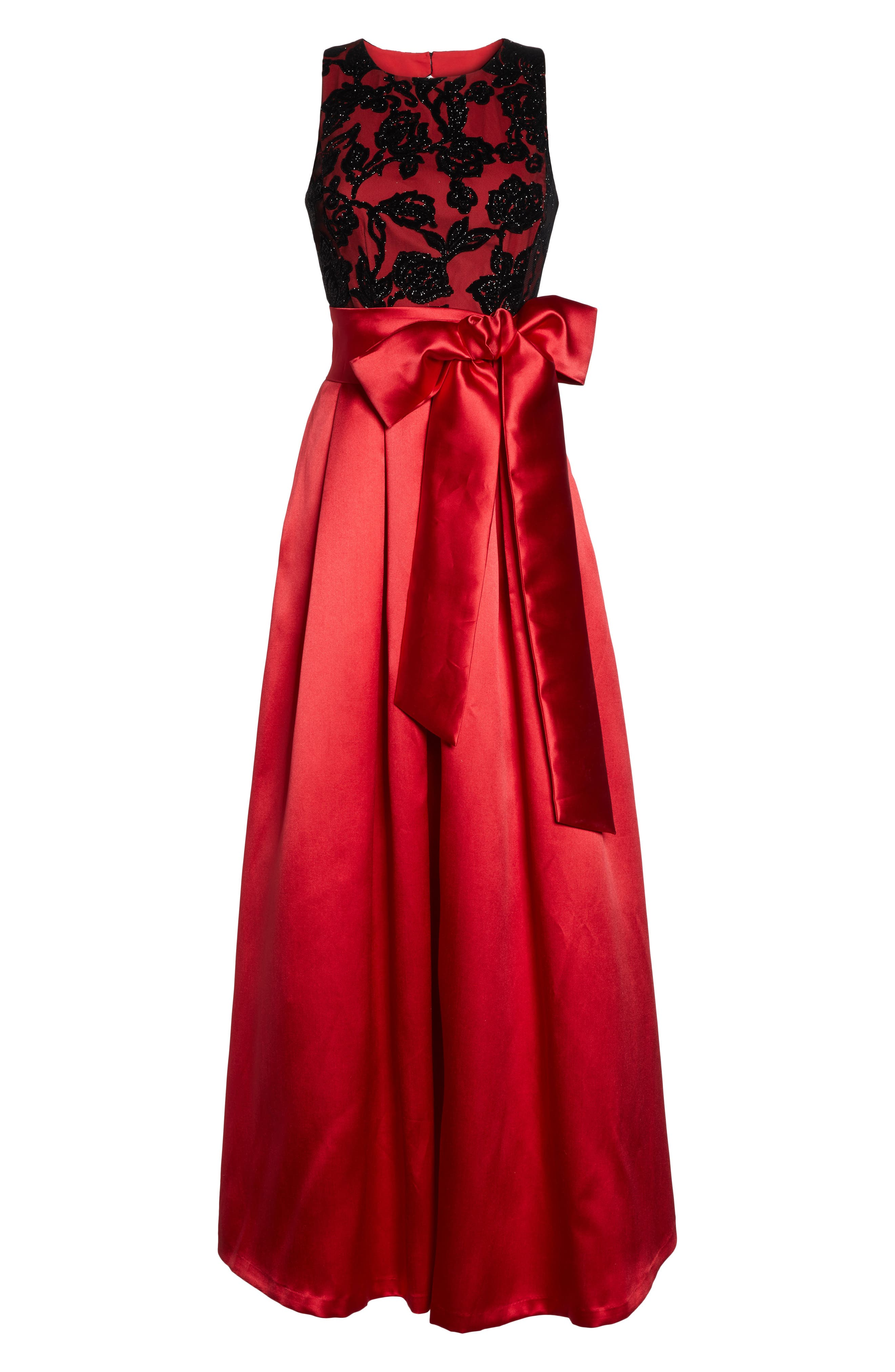 Velvet Burnout & Mikado Ballgown,                             Alternate thumbnail 6, color,