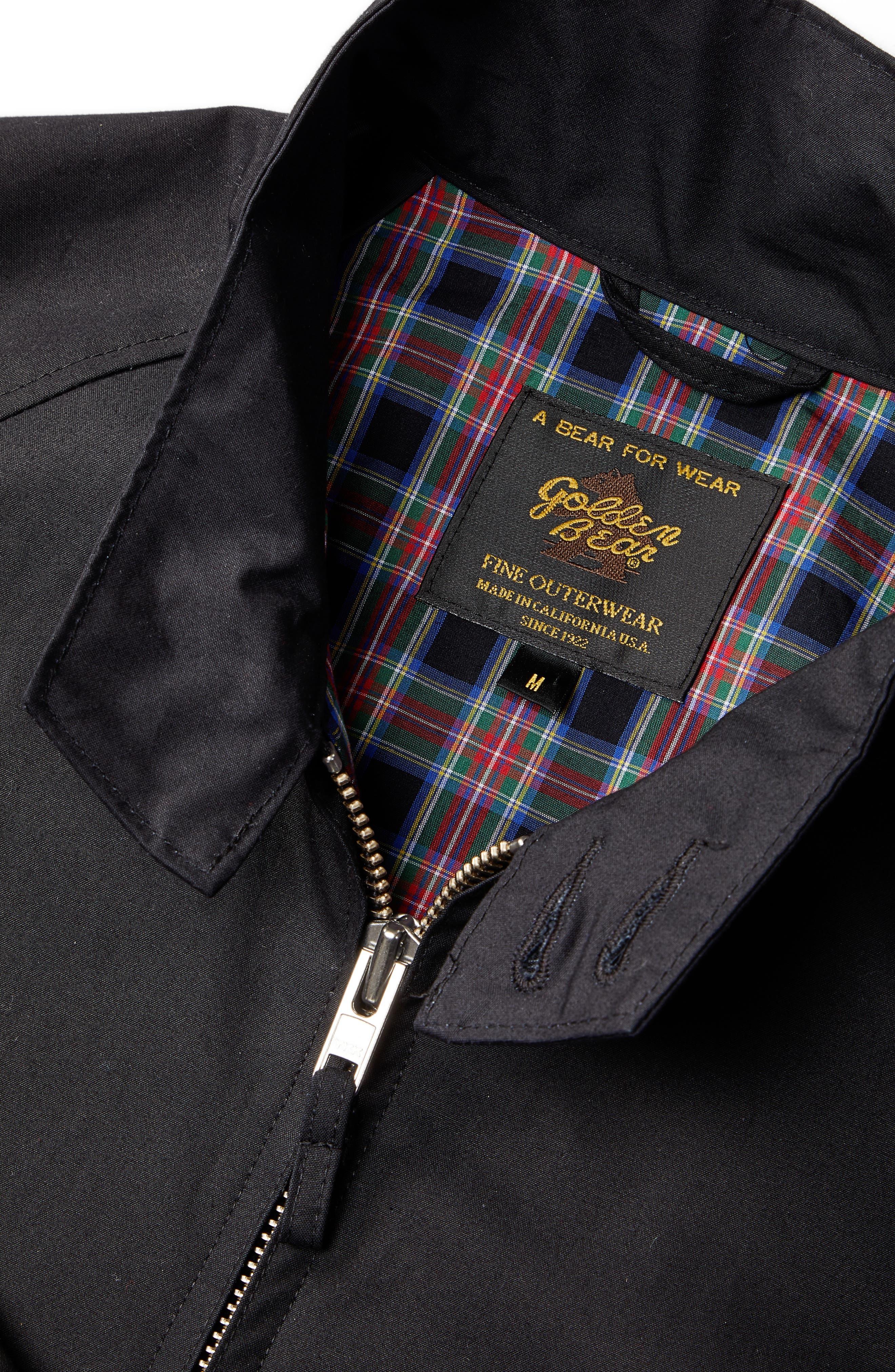 Harrington Waxed Cotton Jacket,                             Alternate thumbnail 6, color,                             BLACK