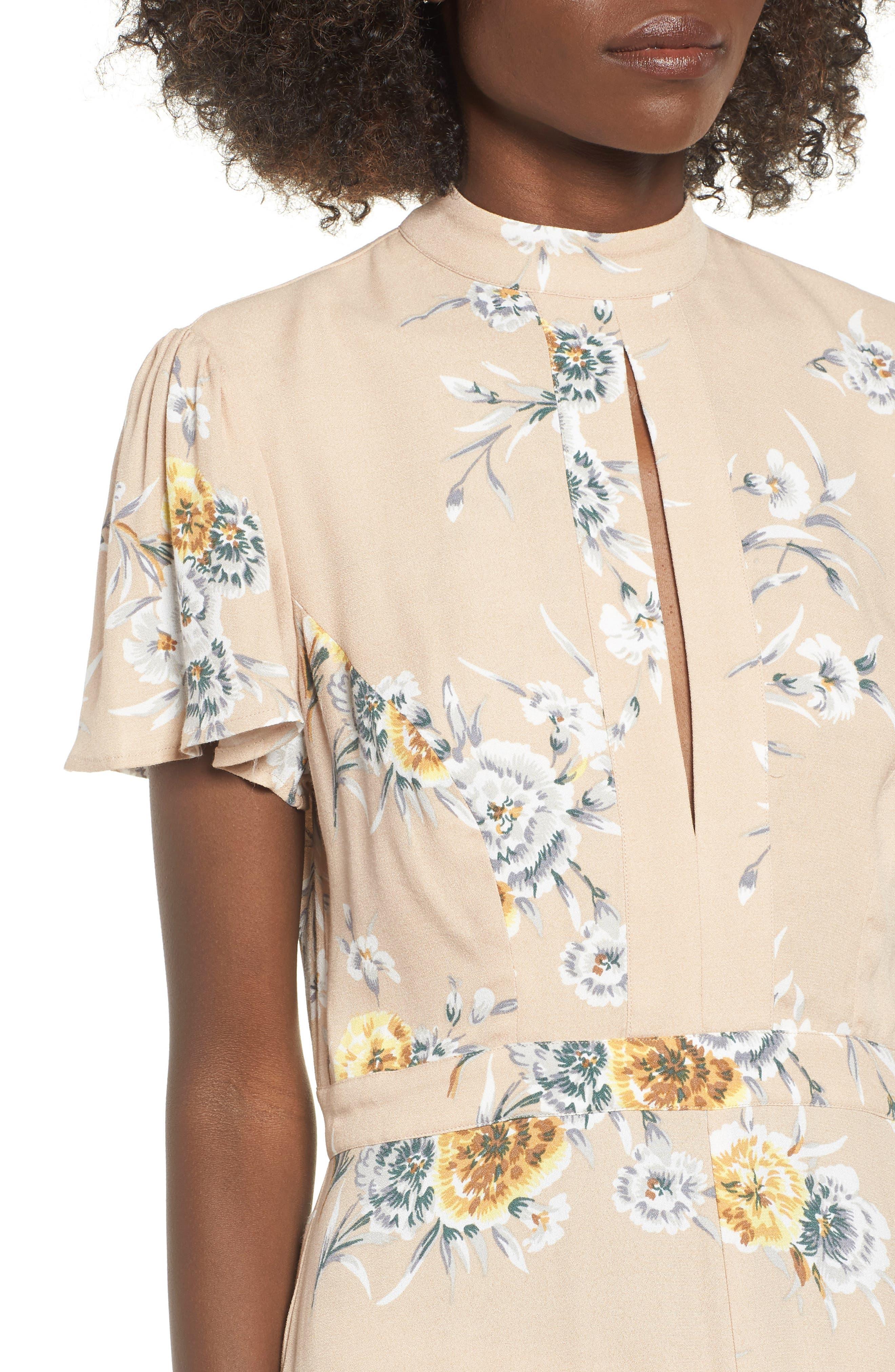 Aliana Tie Detail Dress,                             Alternate thumbnail 4, color,                             BEIGE BOUQUET