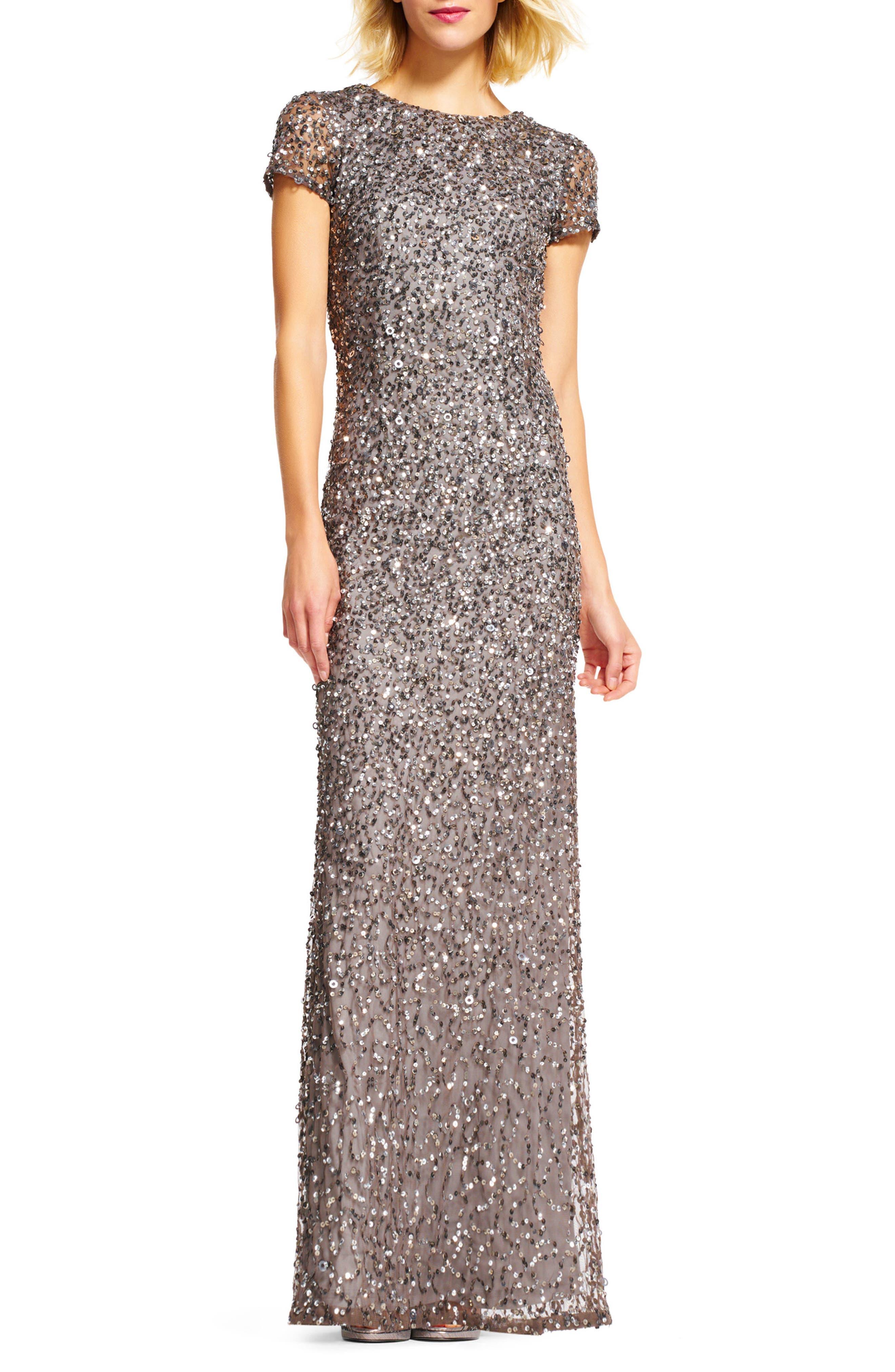 Short Sleeve Sequin Mesh Gown,                             Alternate thumbnail 2, color,                             LEAD