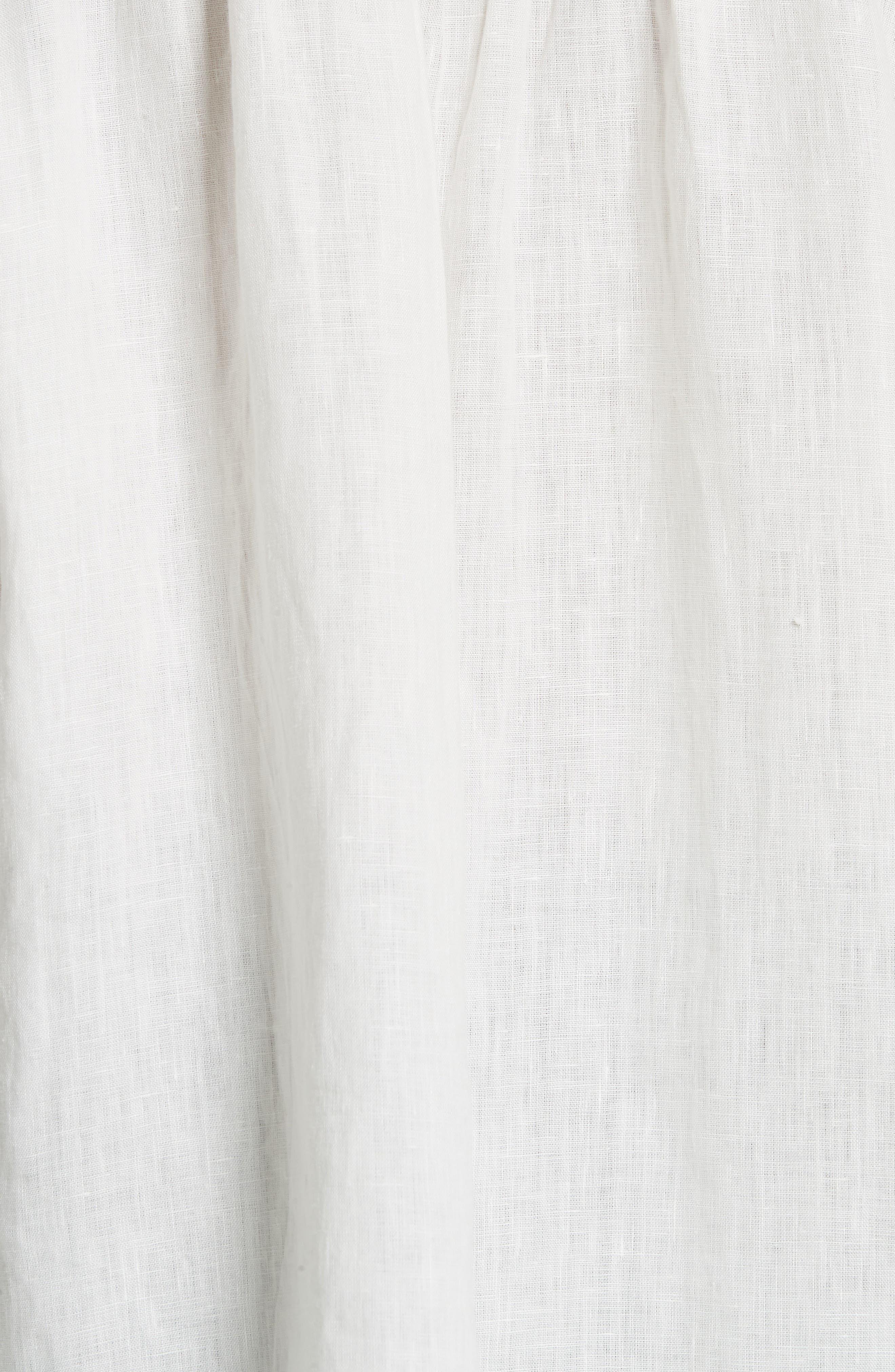 Lidelle Button Tab Linen Blouse,                             Alternate thumbnail 5, color,                             120