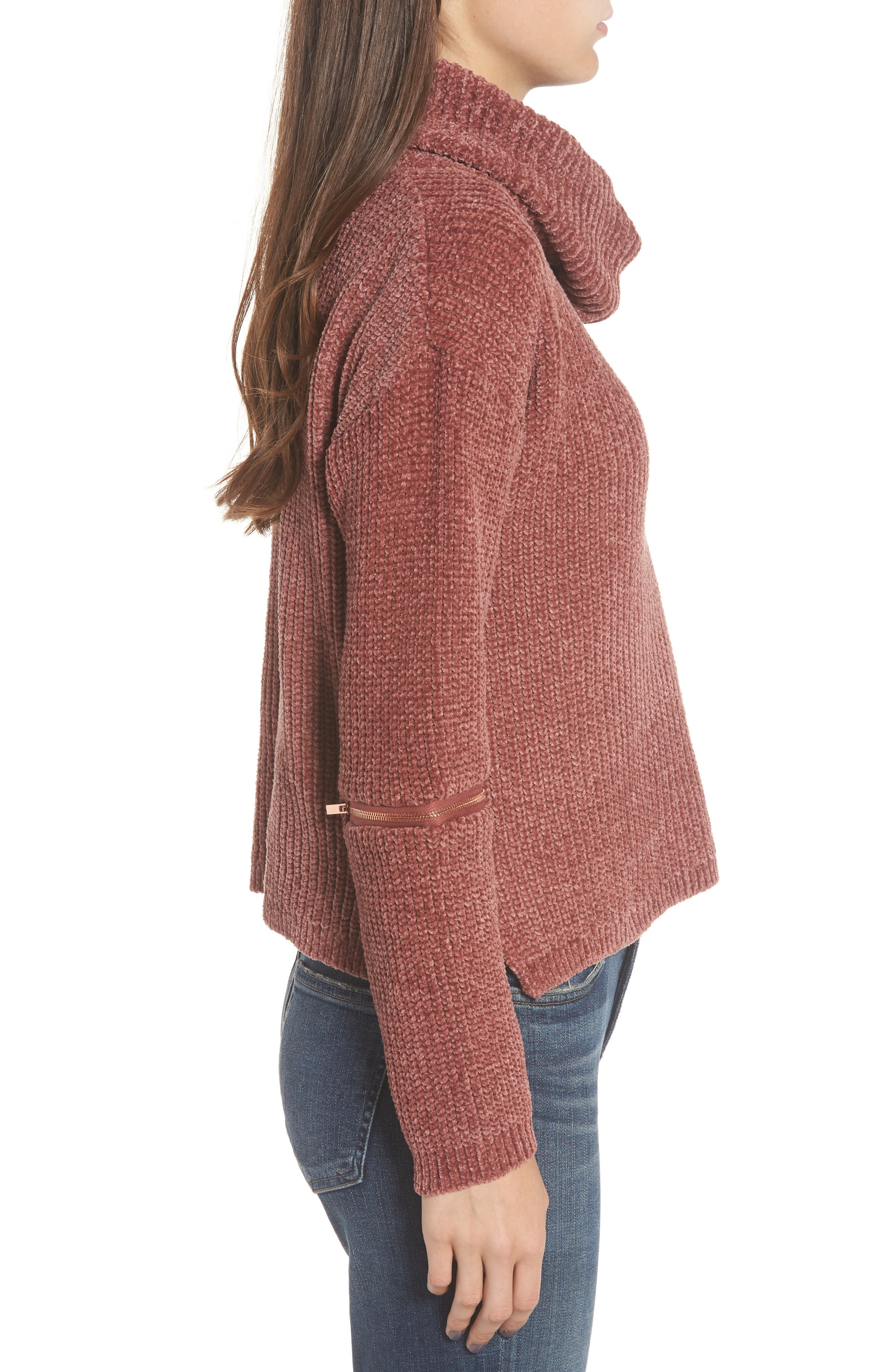 Zip Sleeve Turtleneck Sweater,                             Alternate thumbnail 3, color,                             566