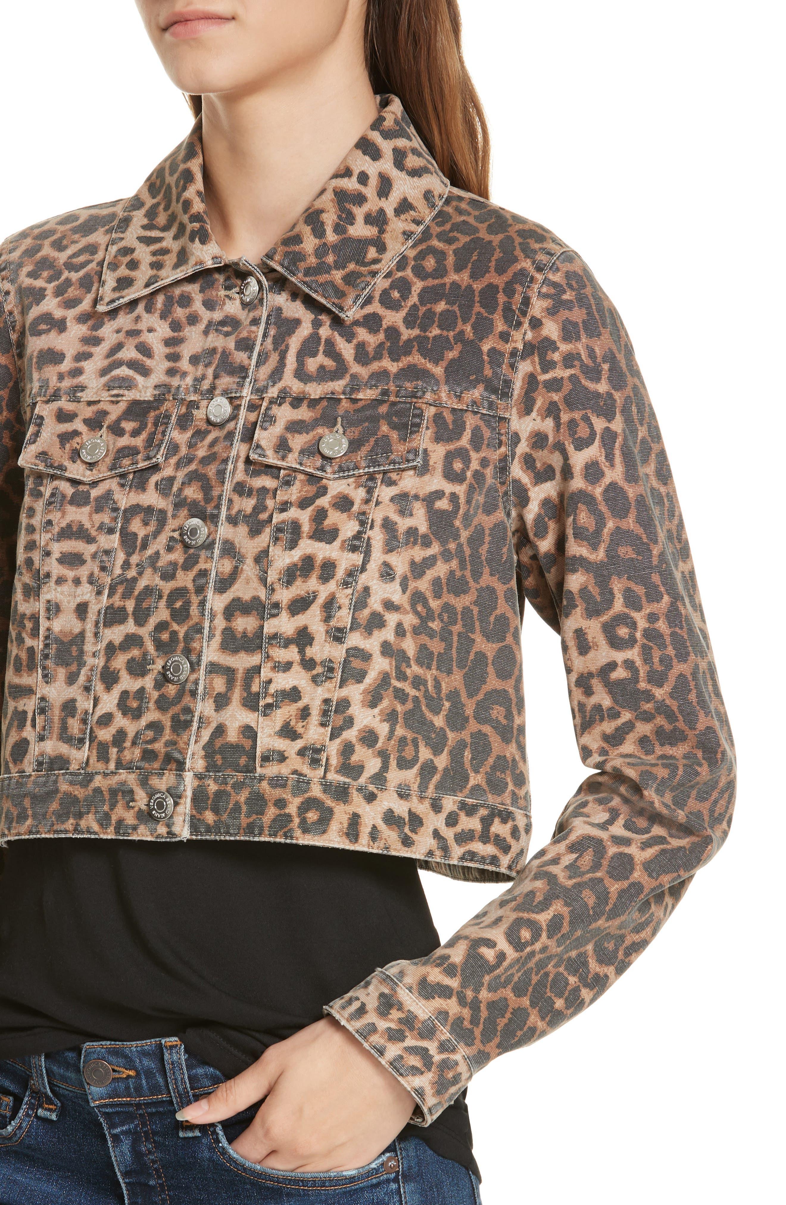 VERONICA BEARD,                             Cara Leopard Print Crop Denim Jacket,                             Alternate thumbnail 5, color,                             LEOPARD
