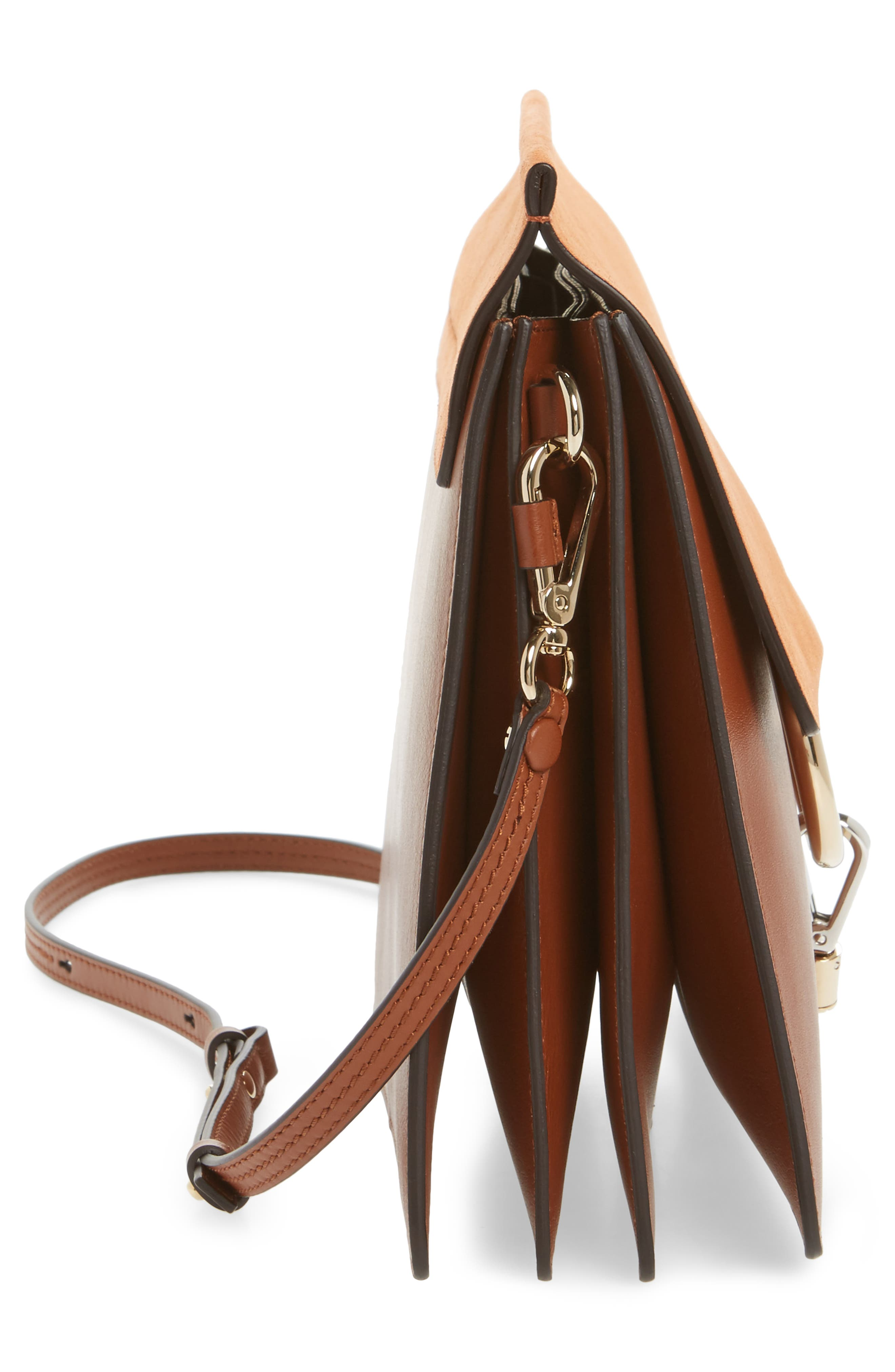 Faye Suede & Leather Shoulder Bag,                             Alternate thumbnail 5, color,                             CLASSIC TOBACCO