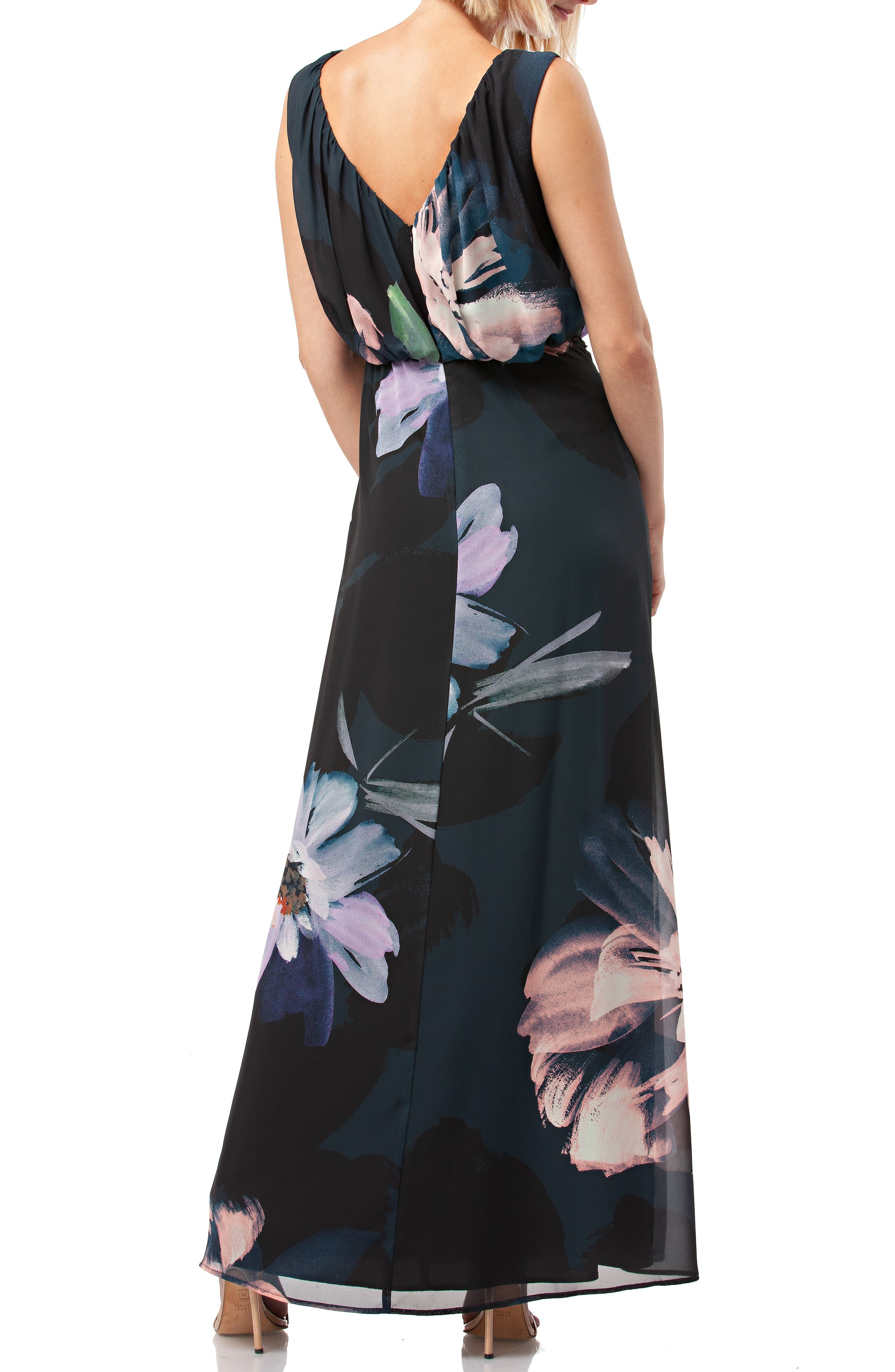 Floral Print Chiffon Gown,                             Alternate thumbnail 2, color,                             BLACK MULTI