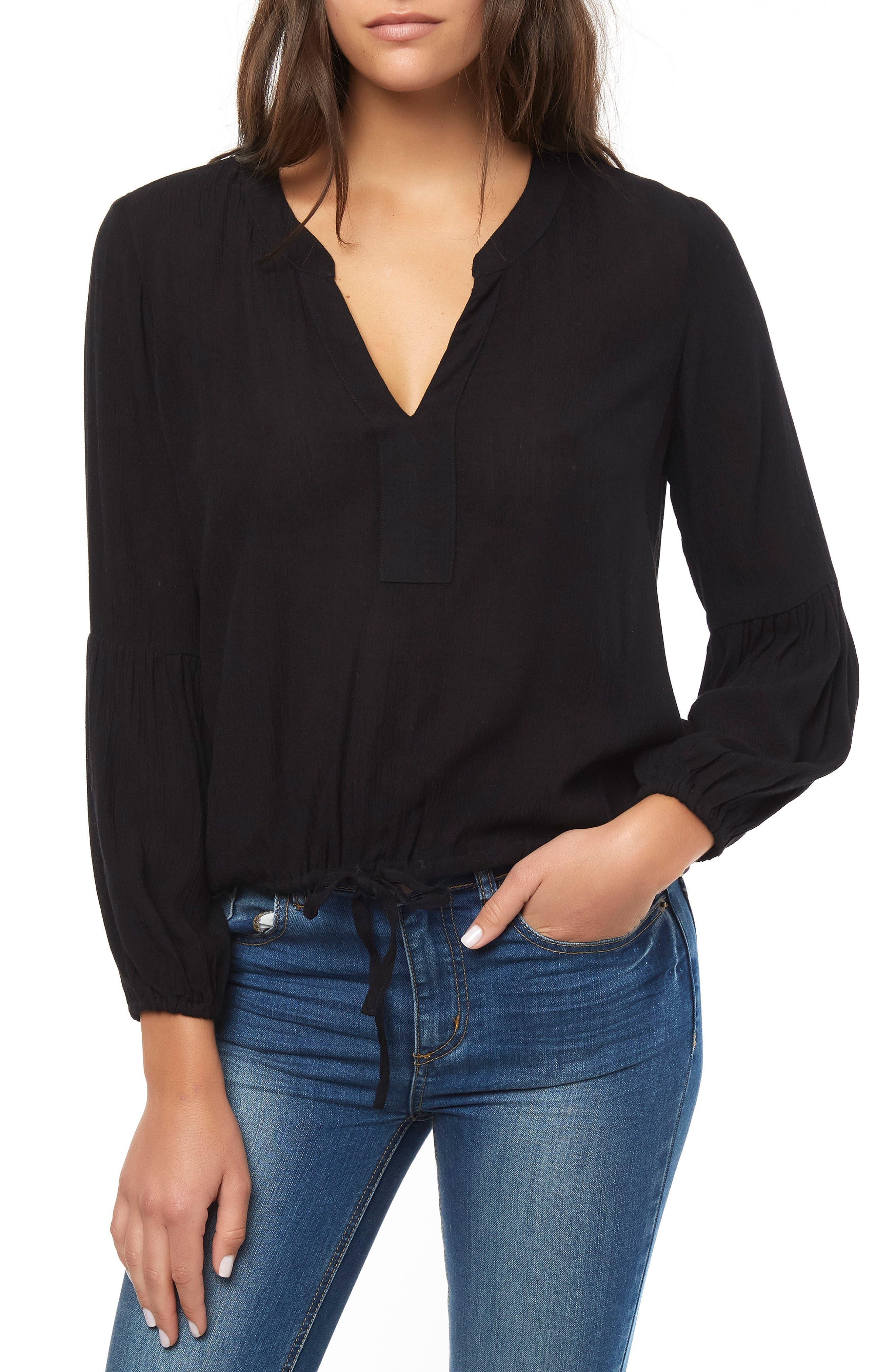 O'NEILL Linette Tie Hem Top, Main, color, BLACK