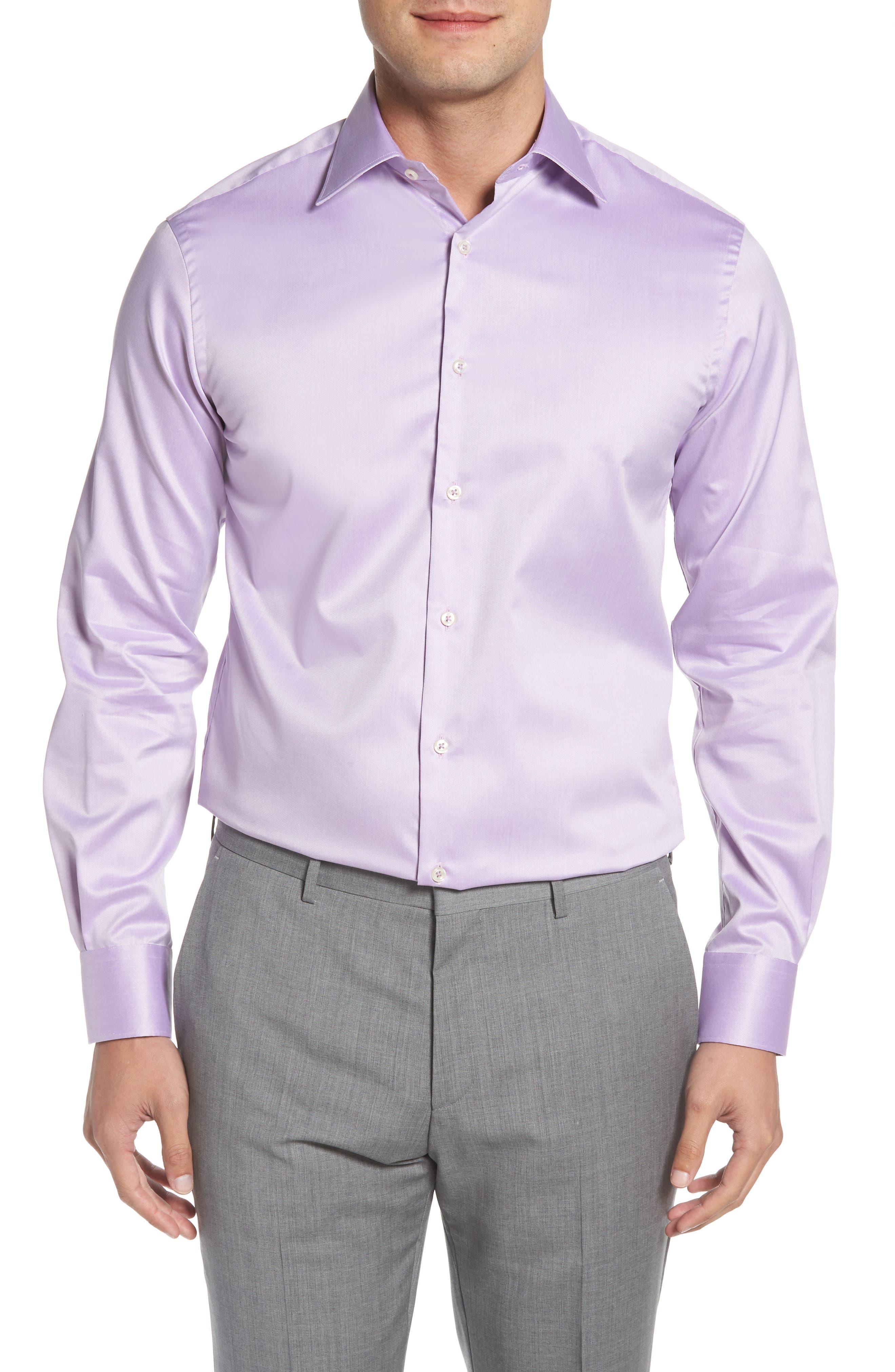 Regular Fit Solid Dress Shirt,                         Main,                         color, PURPLE
