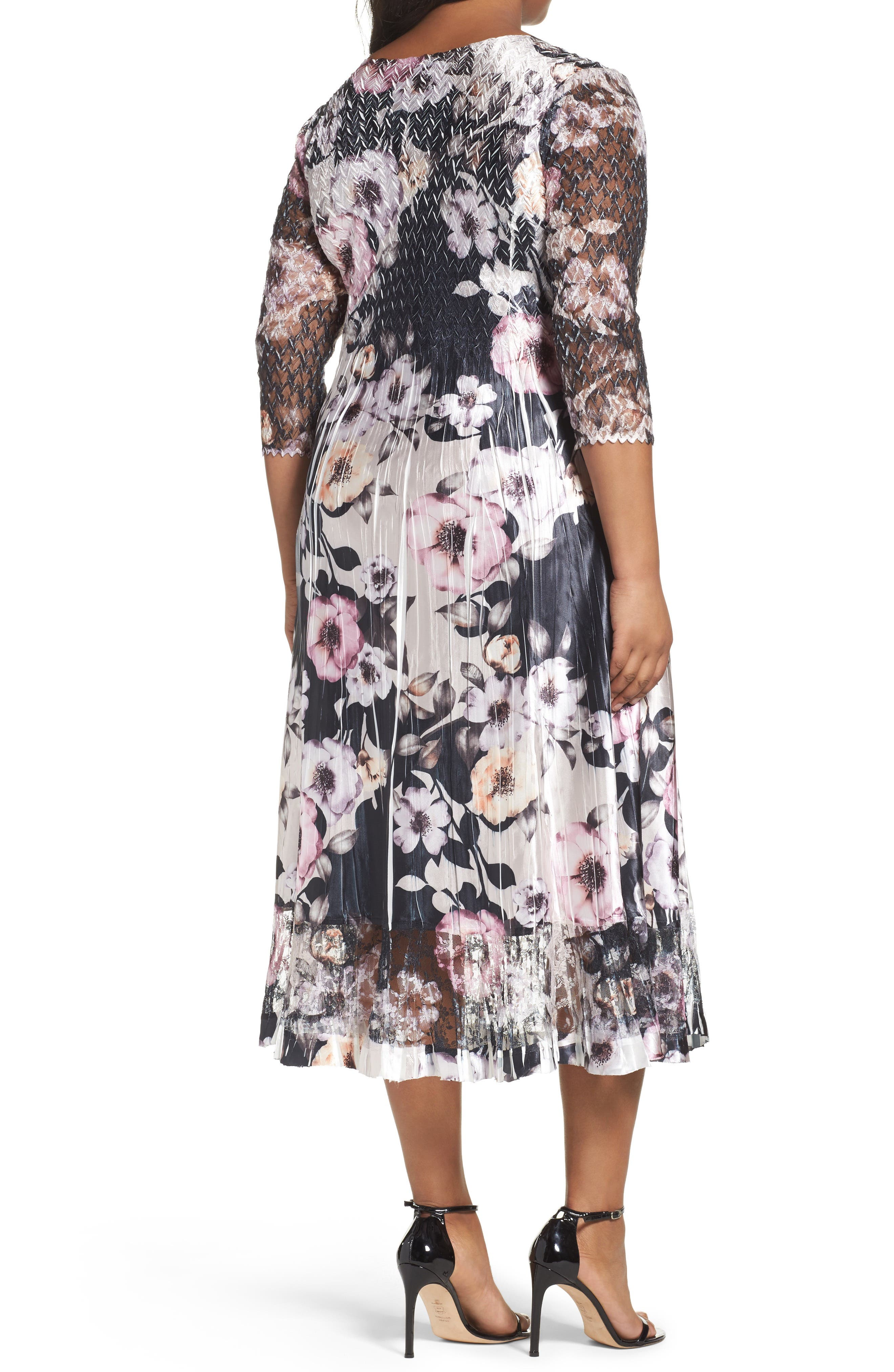 Print Lace & Charmeuse Dress,                             Alternate thumbnail 2, color,                             524