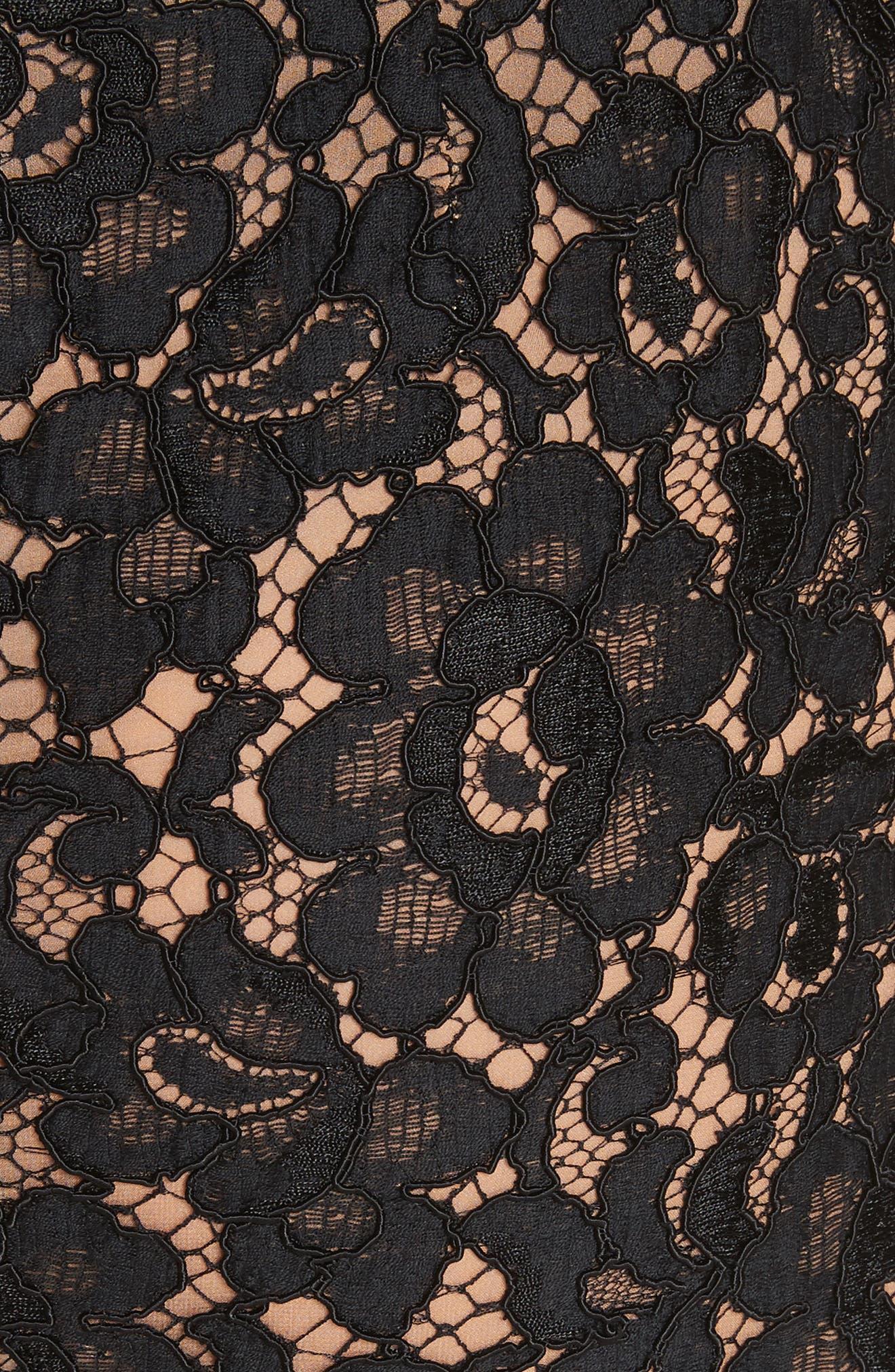 Lace Pencil Skirt,                             Alternate thumbnail 5, color,                             BLACK