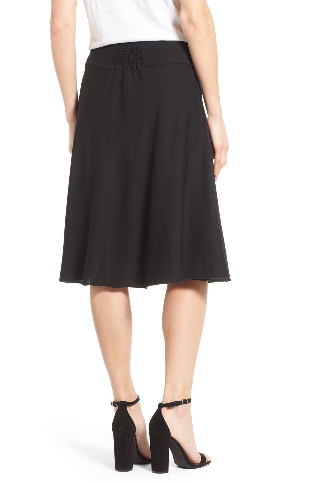 Summer Fling Linen Blend Skirt,                             Alternate thumbnail 3, color,                             BLACK ONYX
