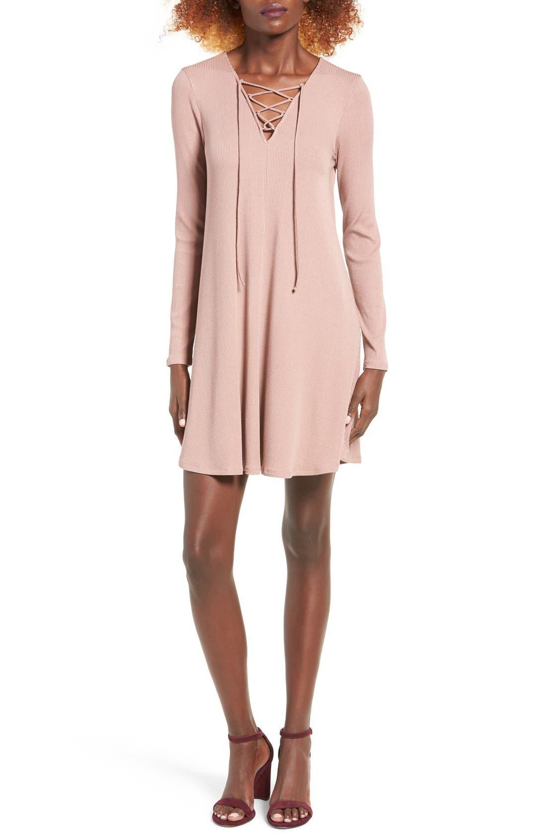 Rib Knit Lace-Up Swing Dress,                             Main thumbnail 2, color,