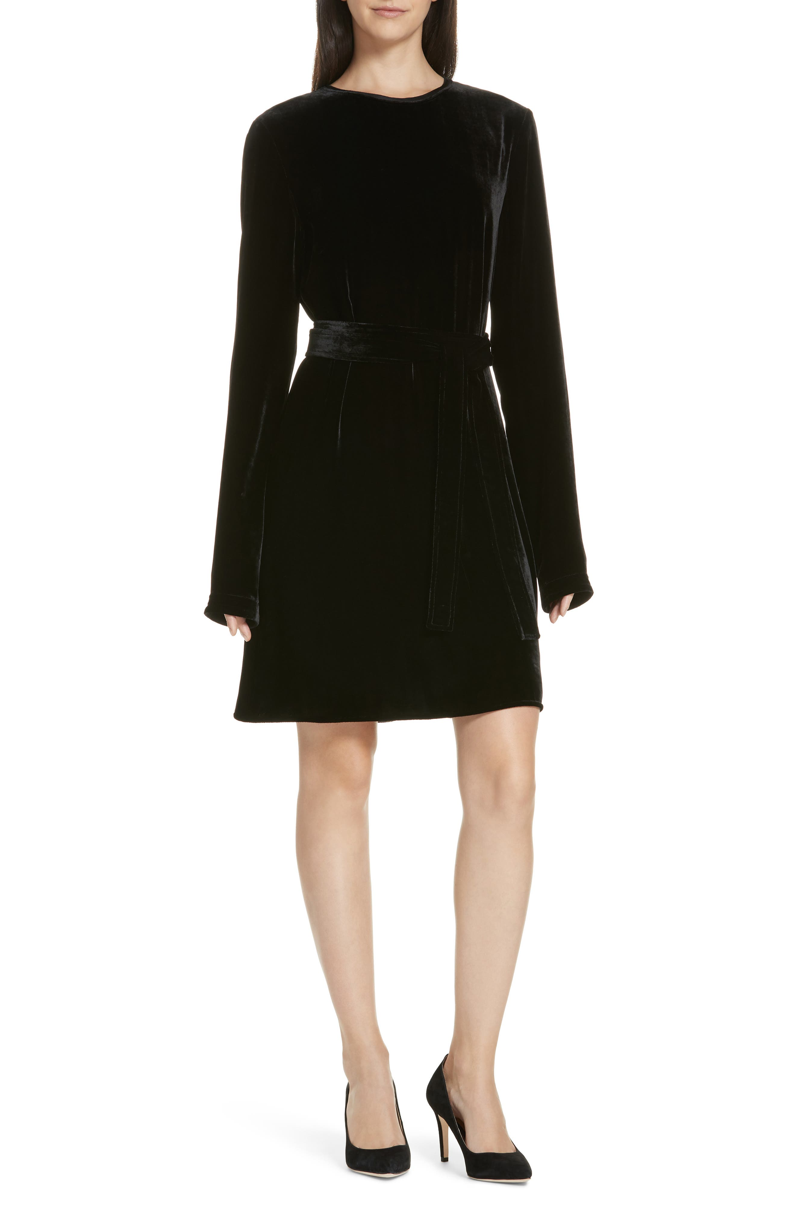 Belted Crinkled Velvet Dress,                             Main thumbnail 1, color,                             001