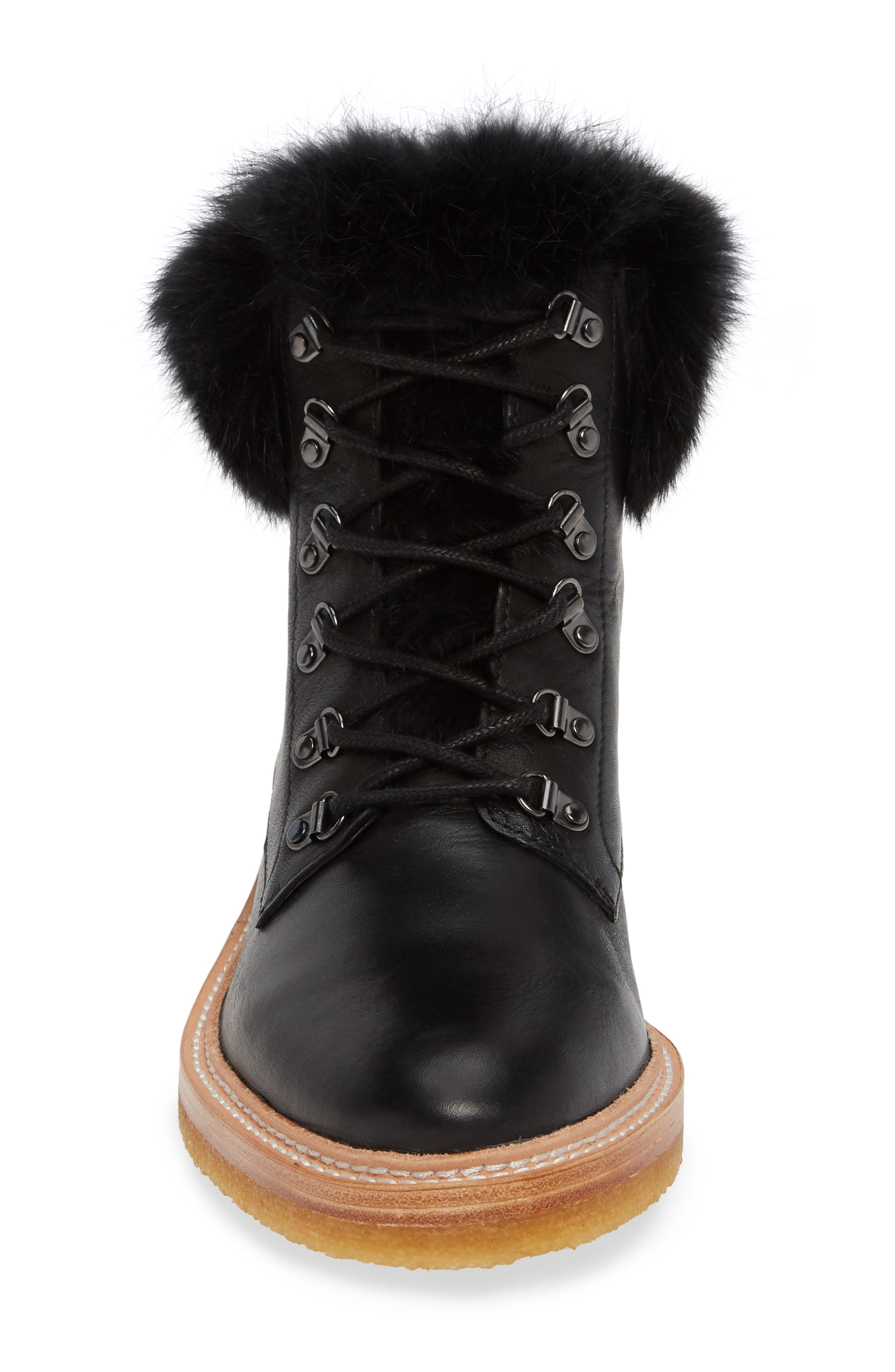 Winter Genuine Rabbit Fur Trim Boot,                             Alternate thumbnail 4, color,                             BLACK LEATHER