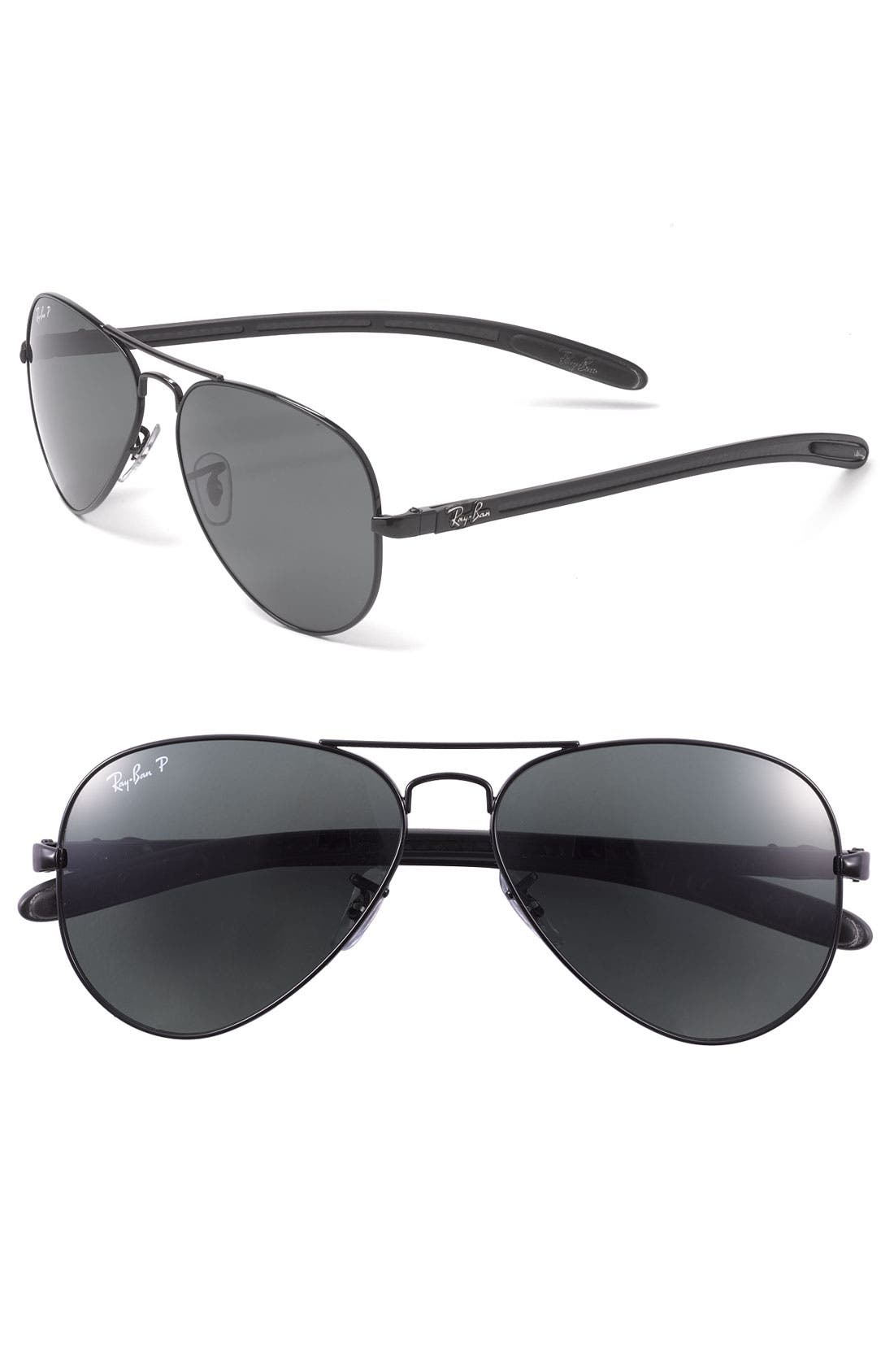 'Tech' Polarized 58mm Aviator Sunglasses,                         Main,                         color, 001