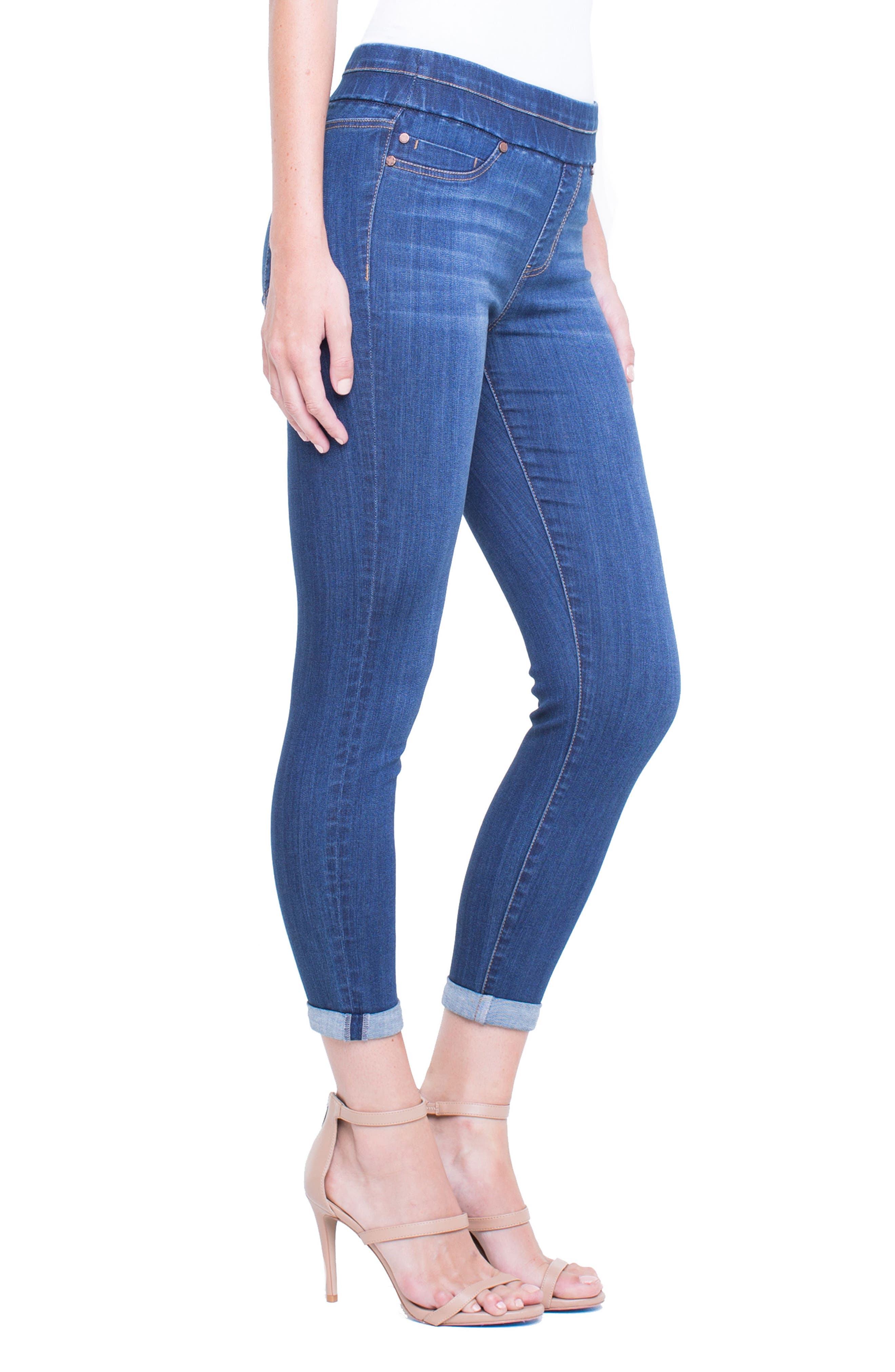 Zoe Pull-On Rolled Cuff Crop Jeans,                             Alternate thumbnail 3, color,                             403